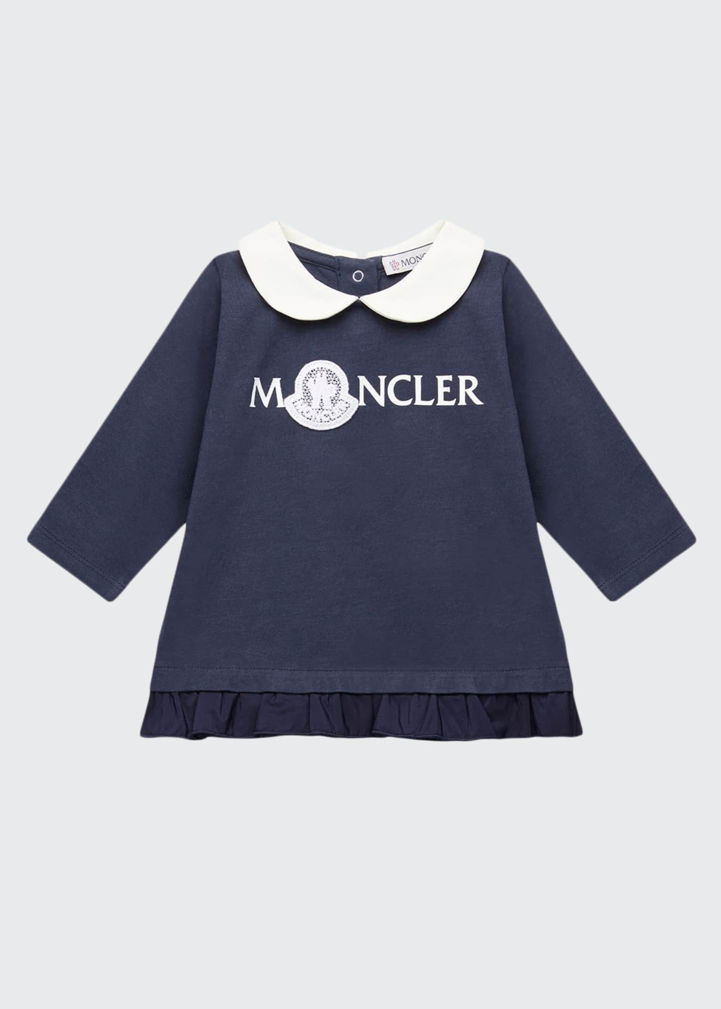Moncler Long Sleeve Logo Dress w/ Peter Pan