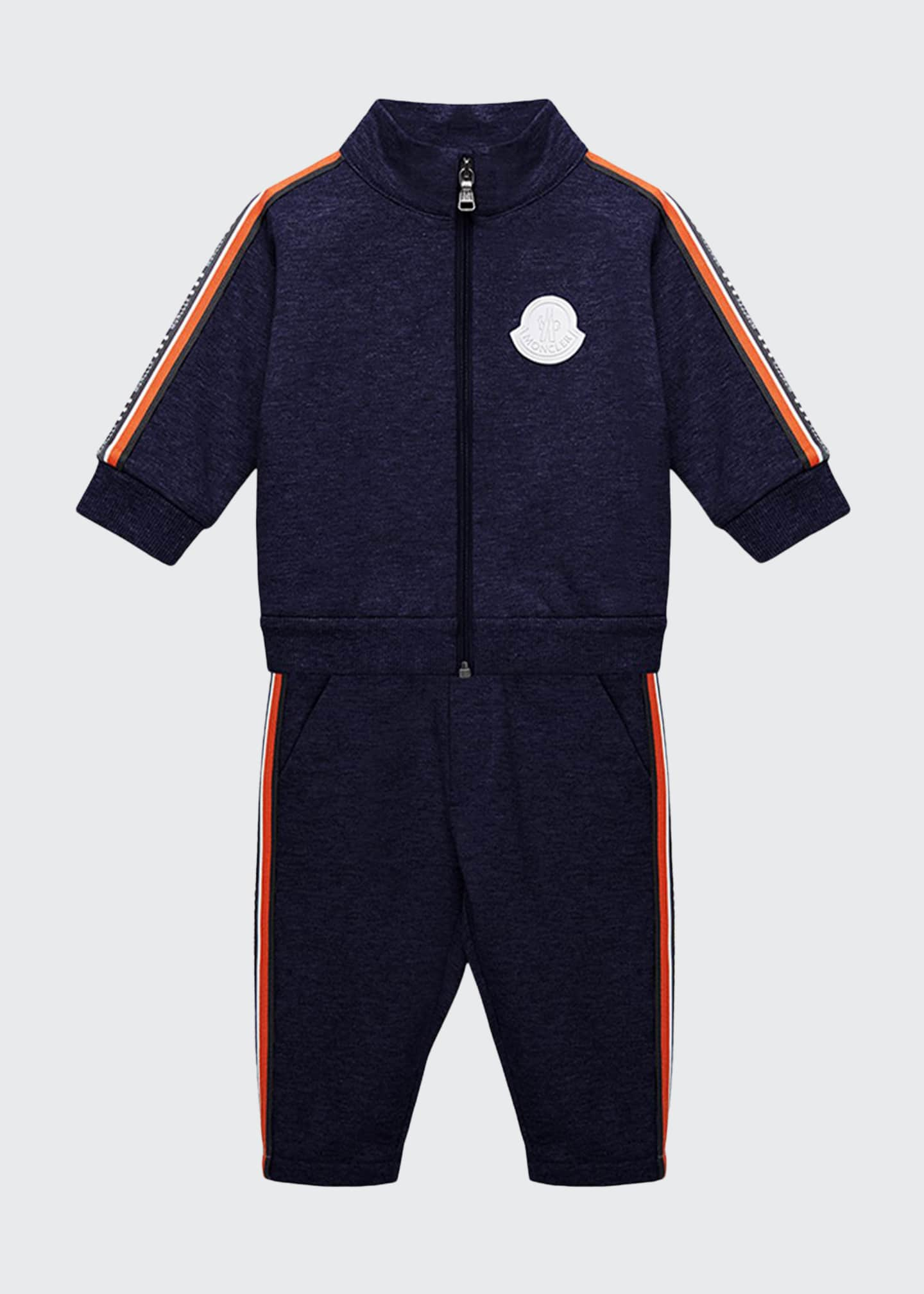 Moncler Side-Stripe Jacket w/ Matching Sweatpants, Size 12M-3