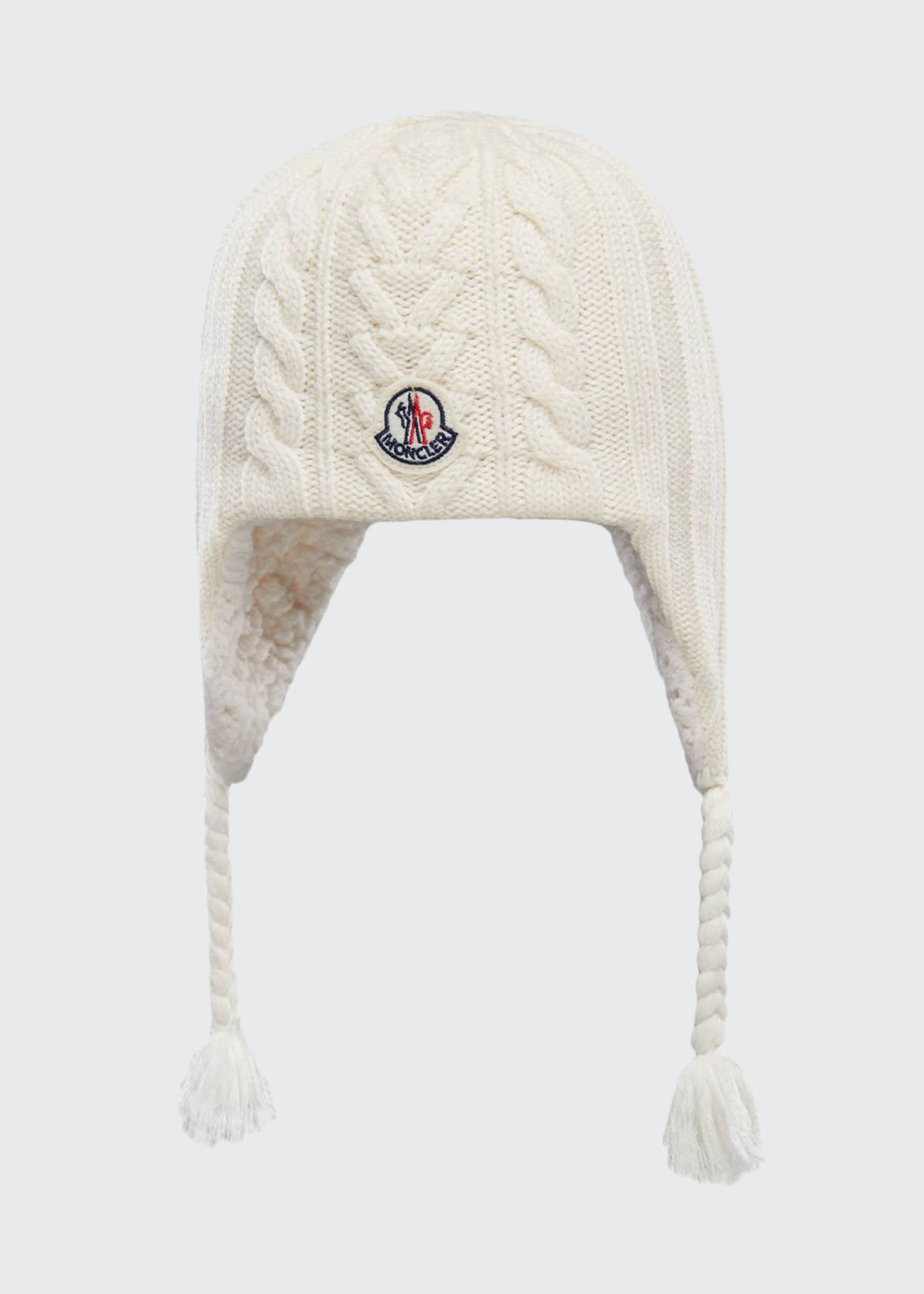 Moncler Kid's Knit Wool Beanie w/ Braid Tassels