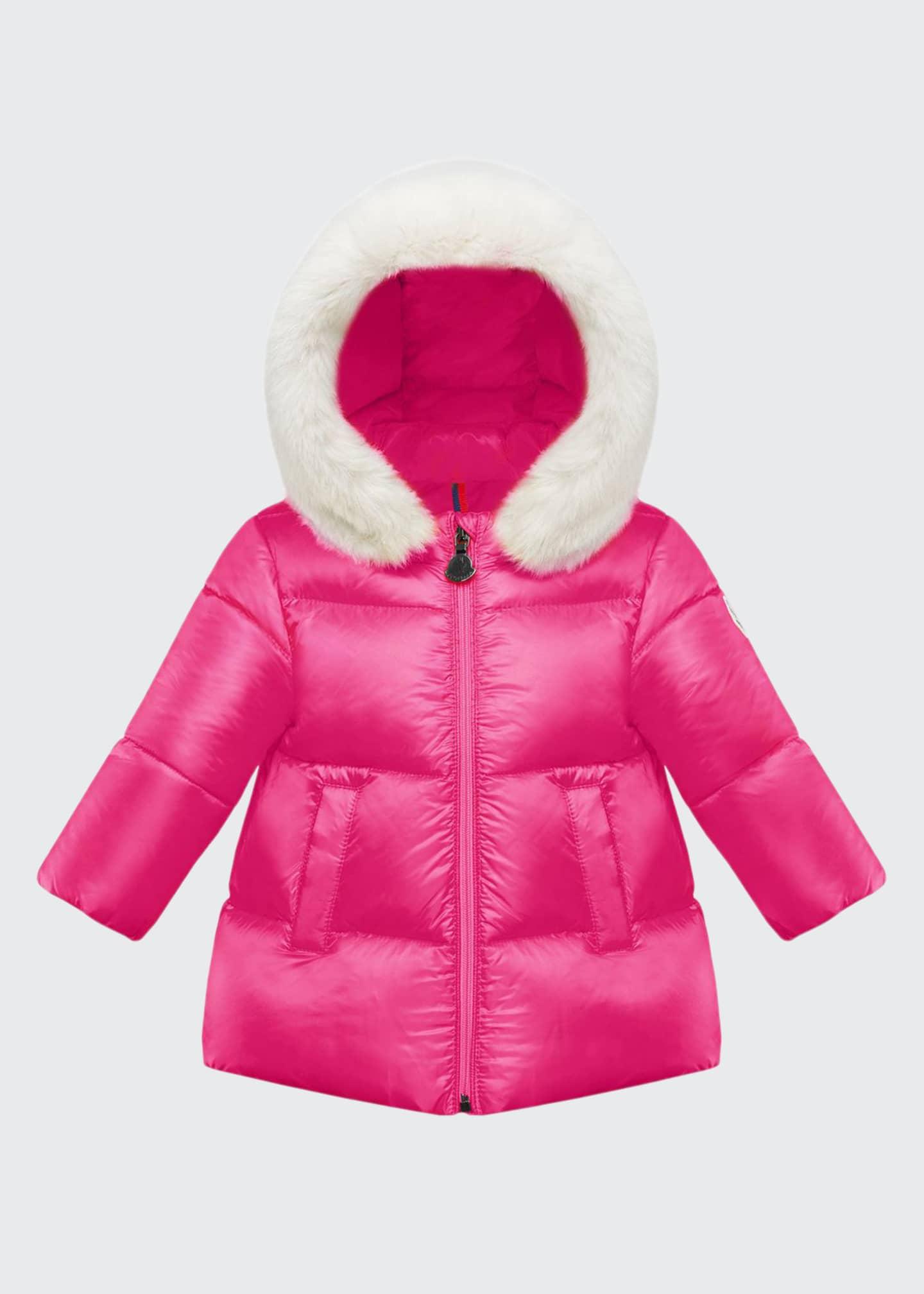 Moncler Caen Puffer Coat w/ Contrast Faux-Fur Hood,