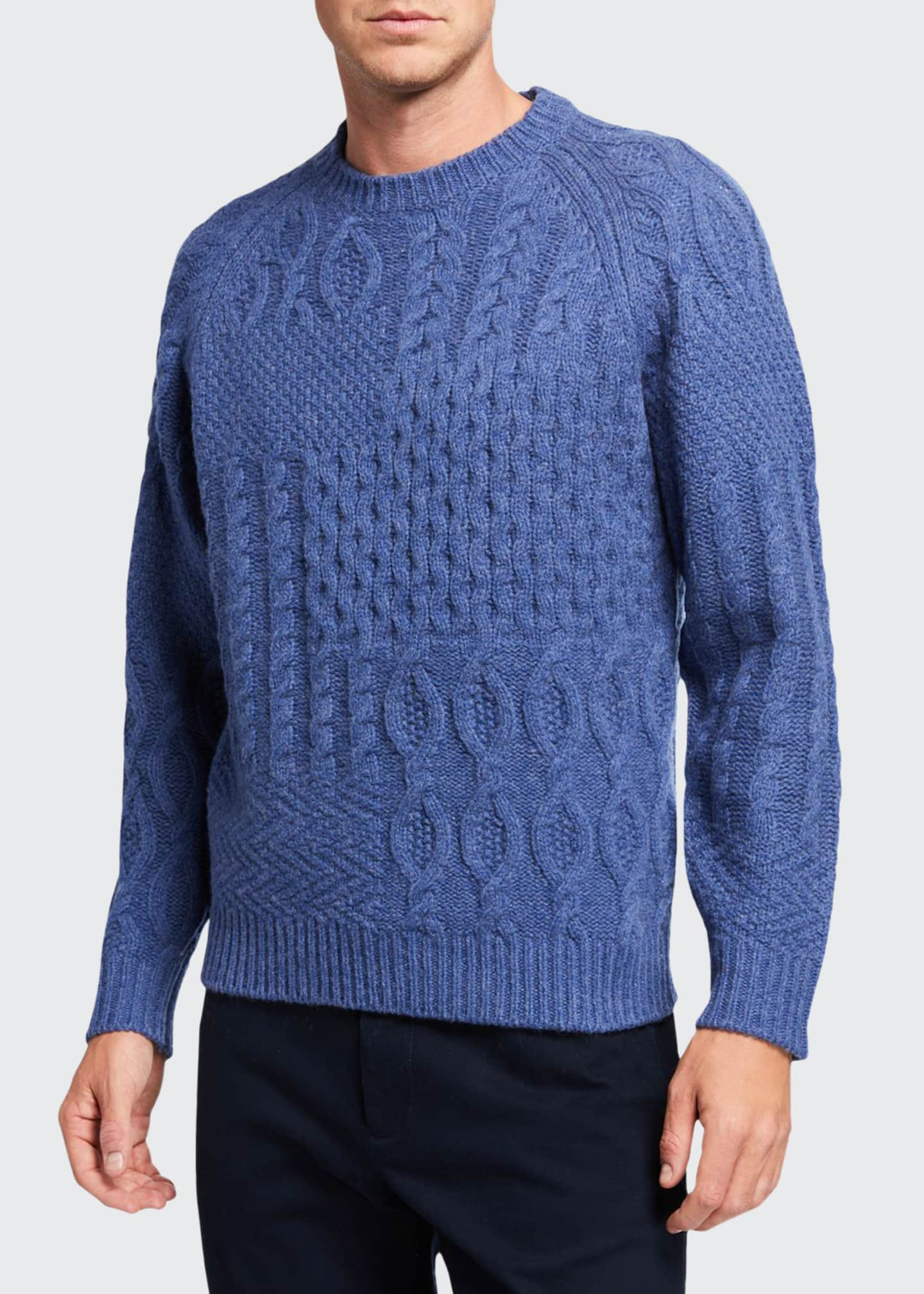 Beams Plus Men's Aran Mixed-Knit Solid Patchwork Sweater