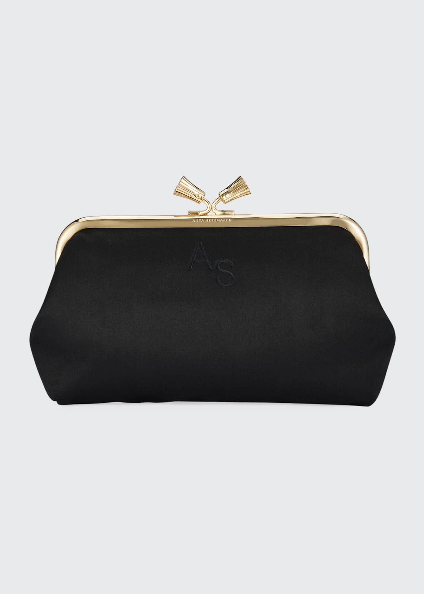 Anya Hindmarch Maud Tassel Satin Clutch Bag, Black