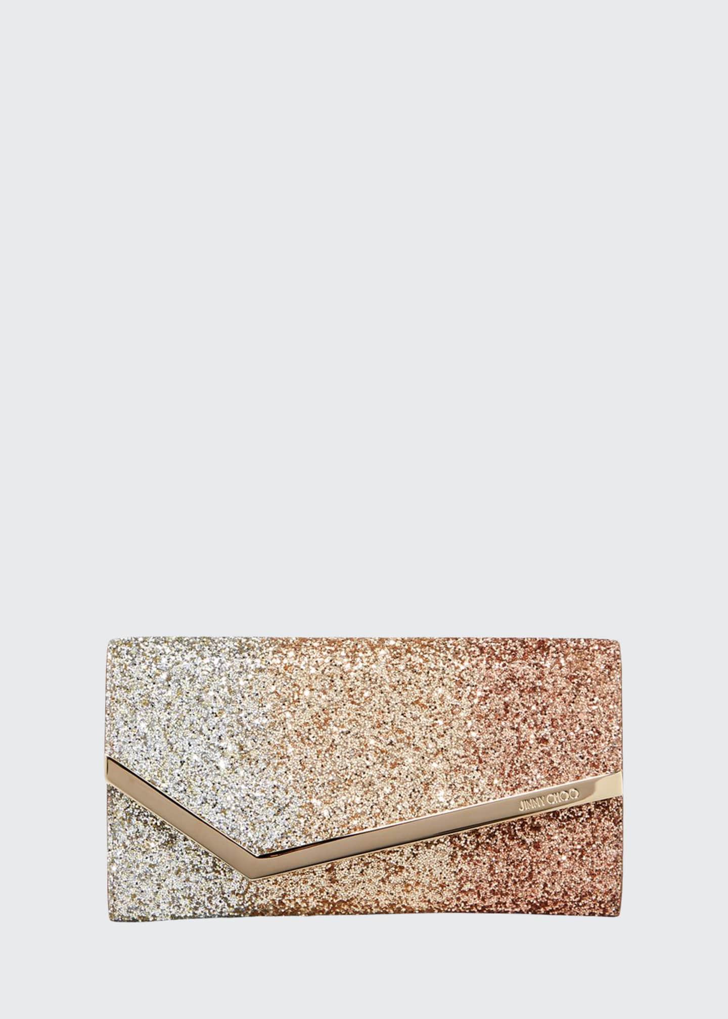 Jimmy Choo Emmie Triple Degrade Glitter Clutch Bag