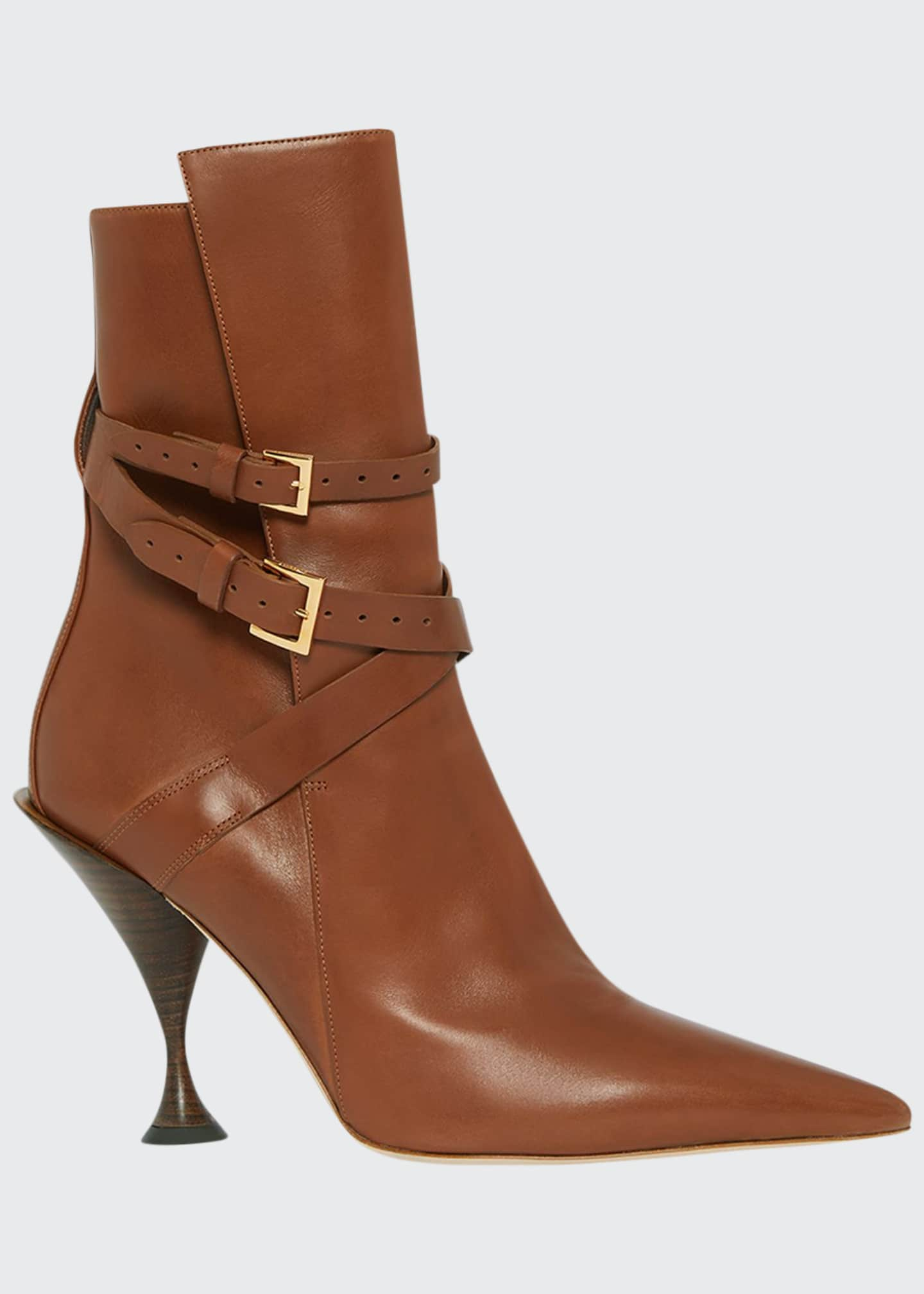Burberry Hadfield Pedestal-Heel Leather Boots