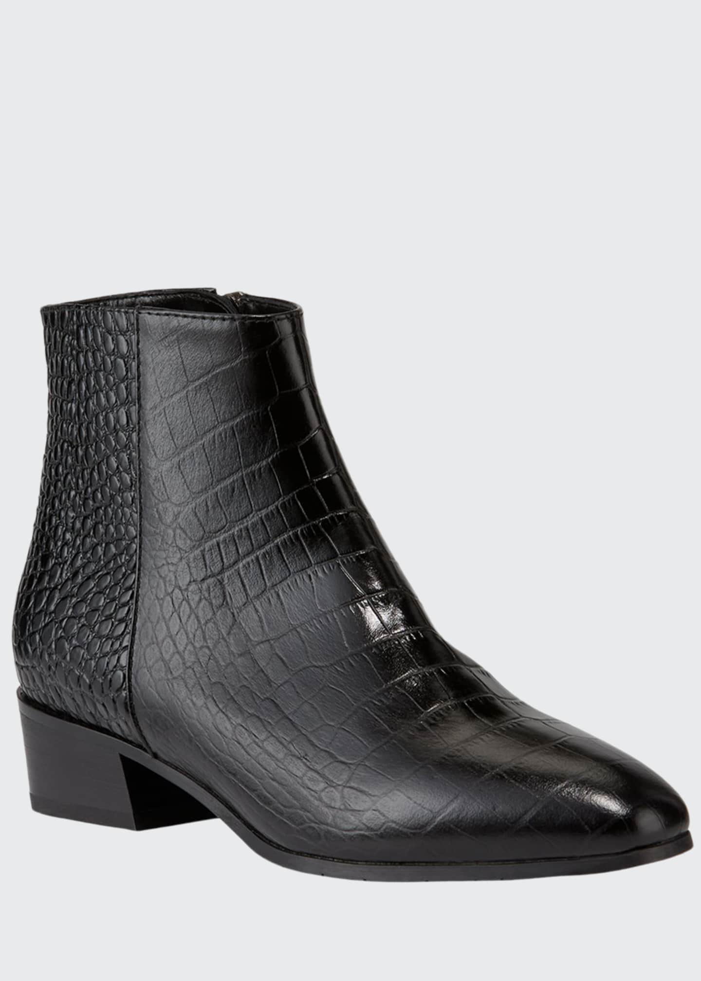 Image 1 of 3: Fuoco Embossed Leather Booties