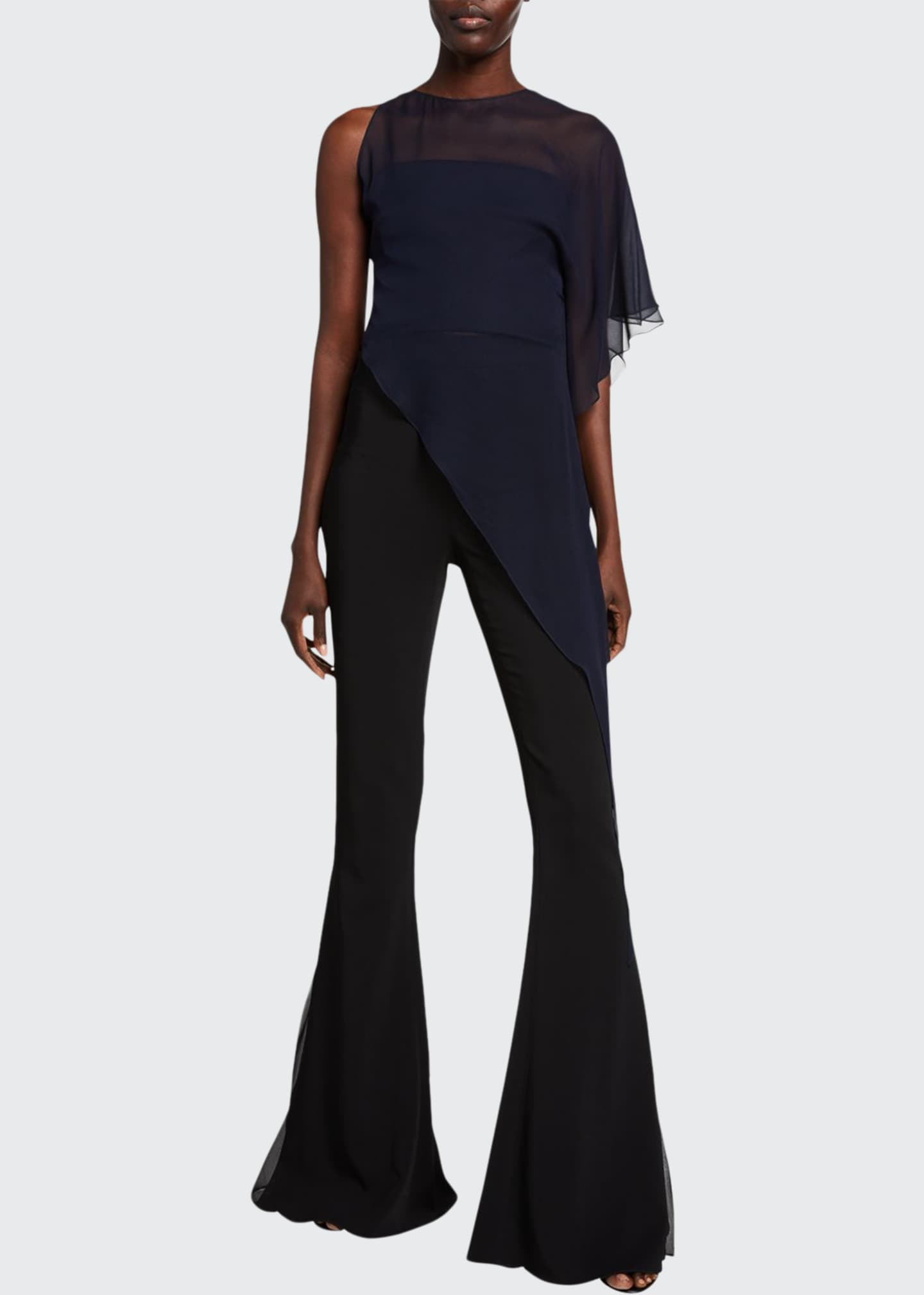 Image 1 of 2: Chiffon One-Shoulder Asymmetric Top