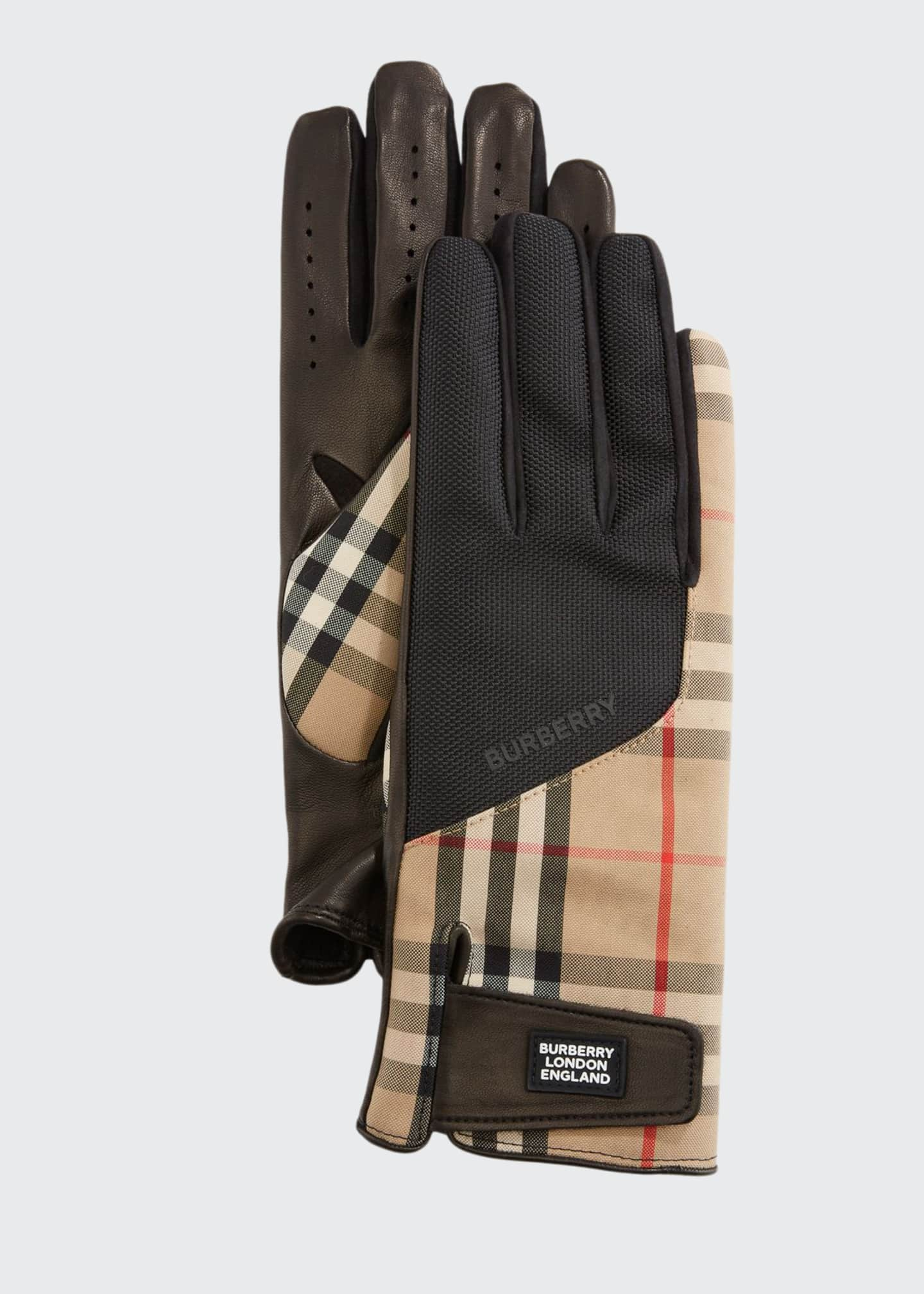 Image 1 of 1: Men's Leather-Palm Bimaterial Gloves