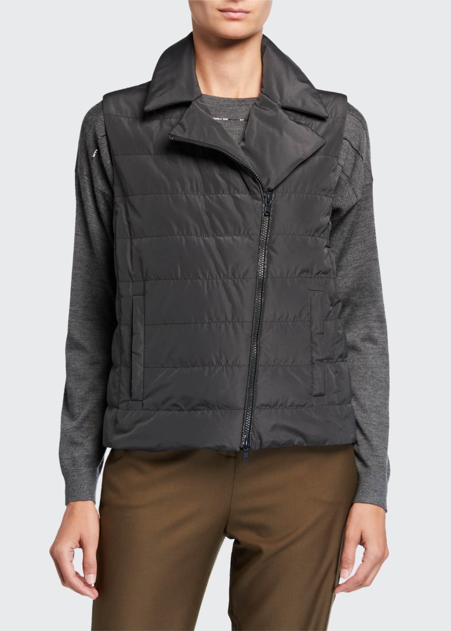 Brunello Cucinelli Water Resistant Taffeta Zip-Front Vest