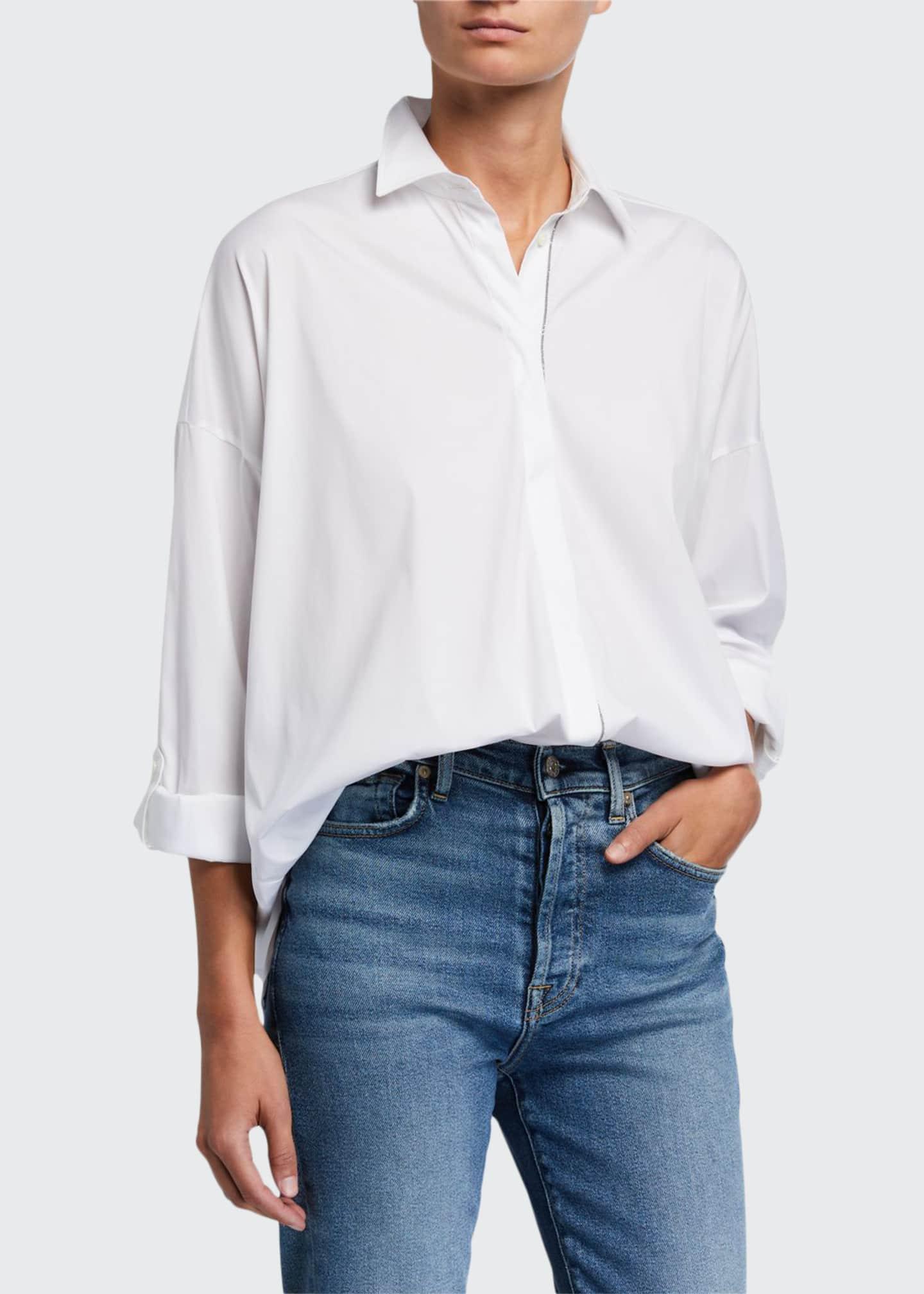 Brunello Cucinelli Cotton Poplin Boxy-Fit Shirt