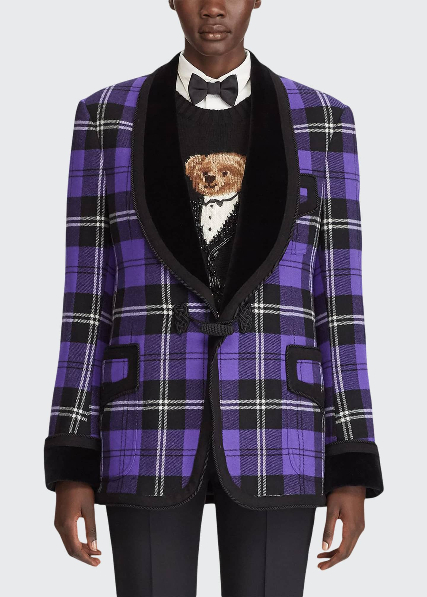 Image 1 of 4: Wilde Plaid Velvet-Lapel Tuxedo Jacket