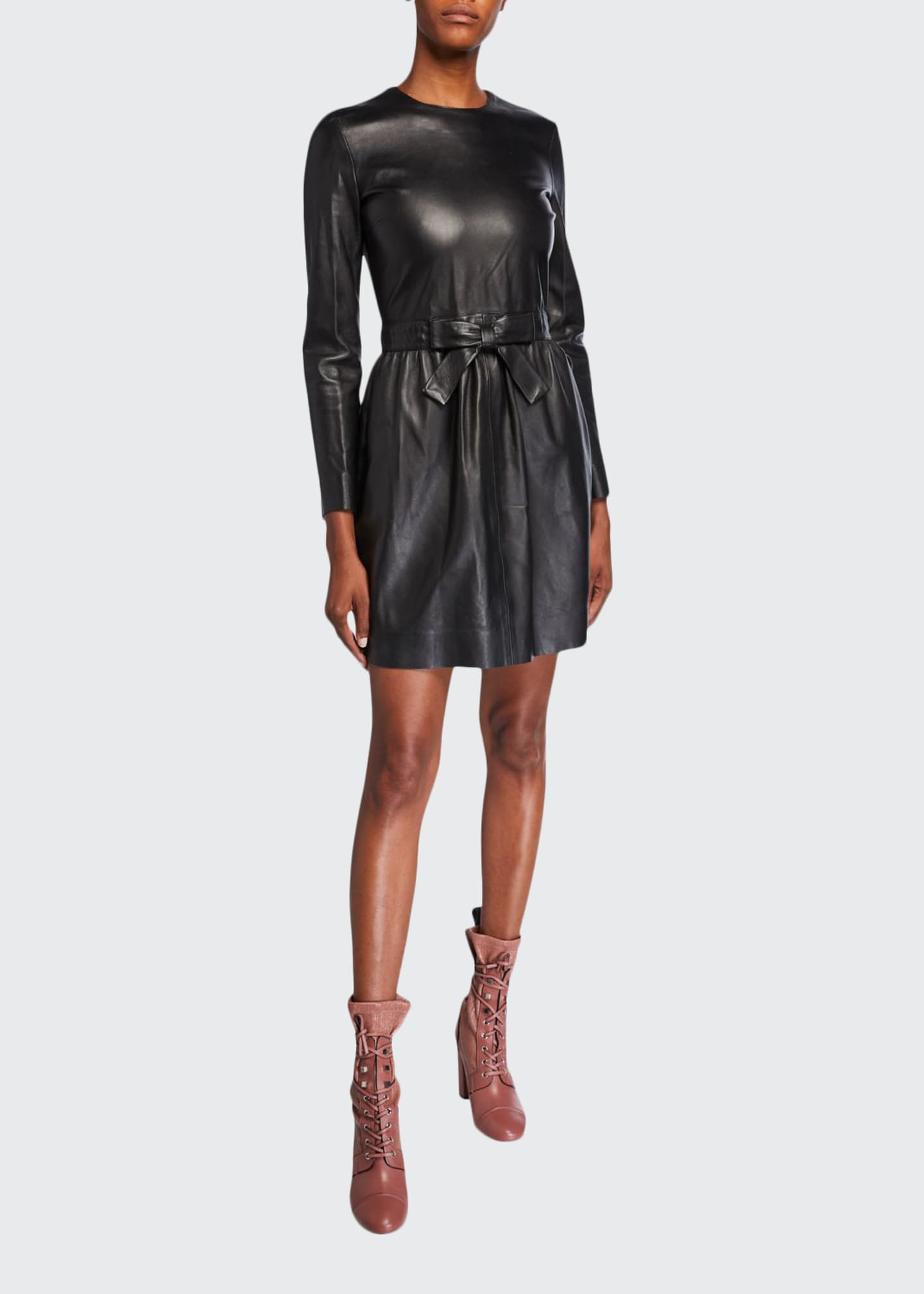 REDValentino Long-Sleeve Bow-Waist Matte Tanned Leather Dress