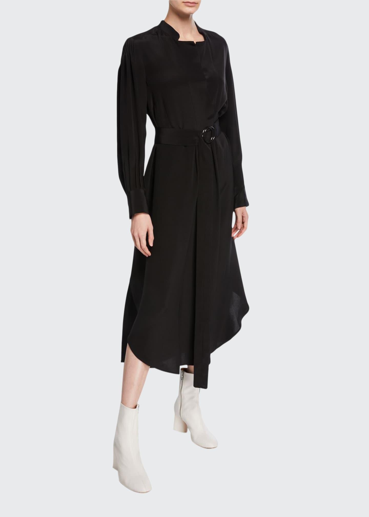 Rachel Comey Allium Belted Silk Long-Sleeve Dress