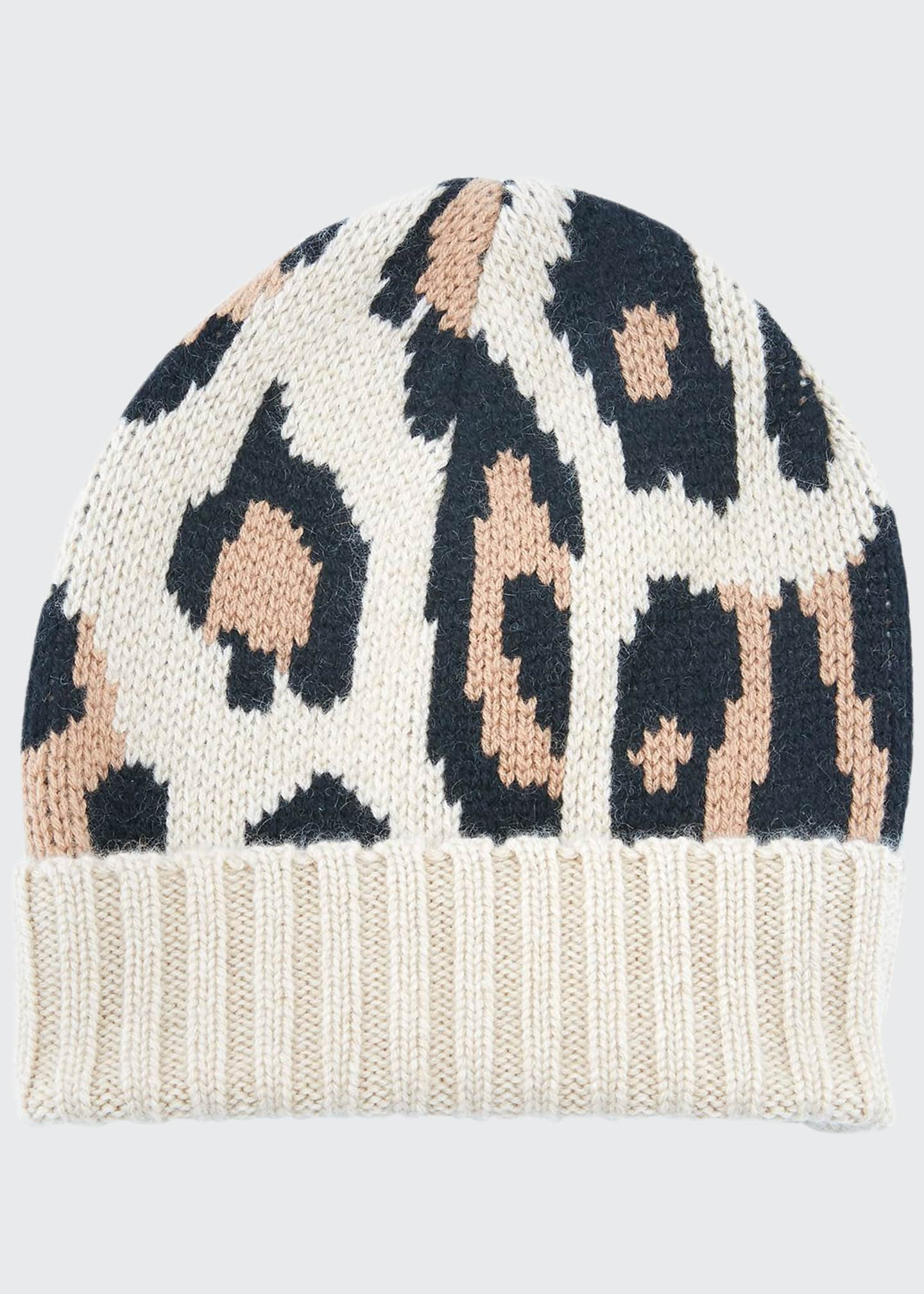 Image 1 of 1: Alexis Animal Pattern Cashmere Beanie Hat
