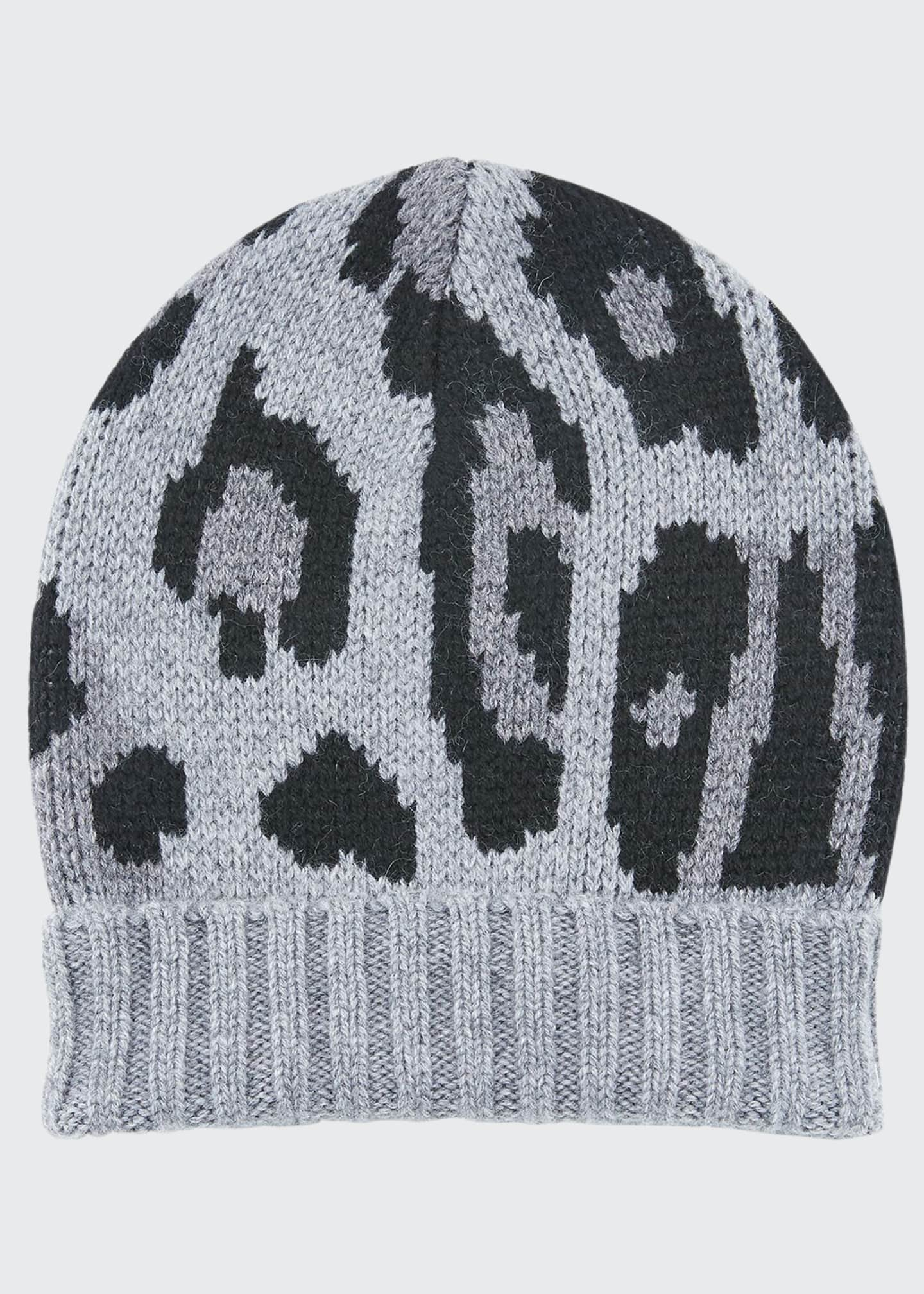 Image 1 of 1: Alexis Leopard-Print Knit Cashmere Beanie