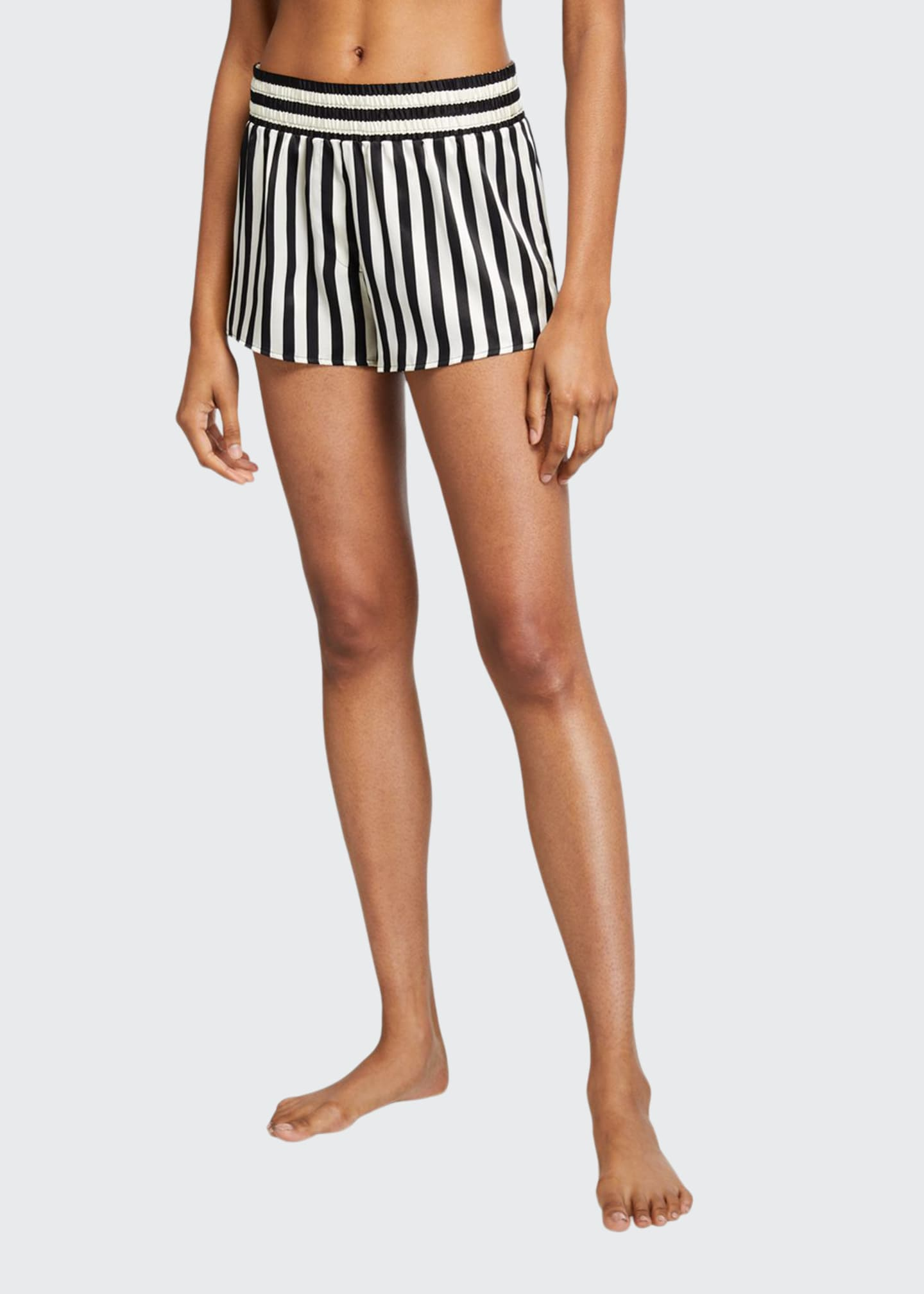 Image 1 of 3: Corey Mini Mask Striped Silk Shorts