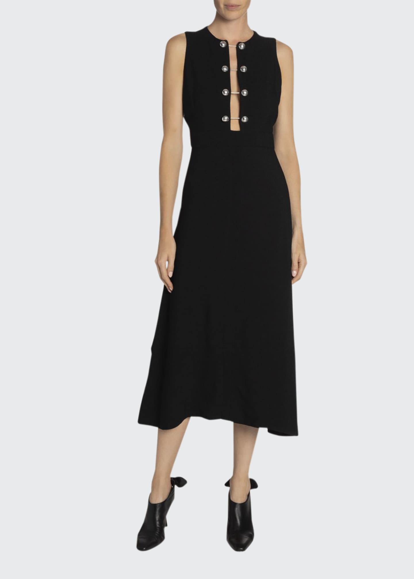Image 1 of 3: Sleeveless Barbell-Front Midi Dress