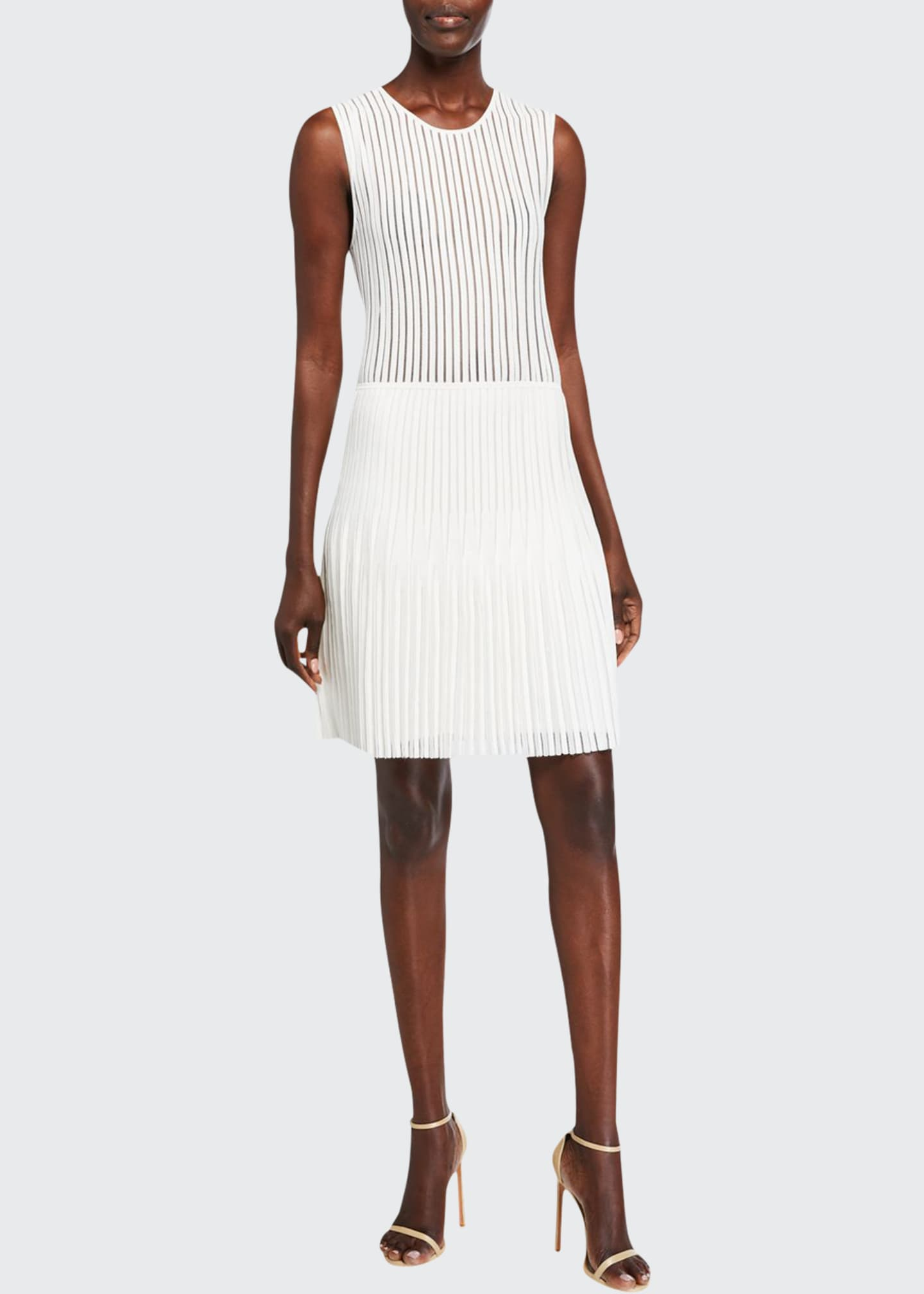 Image 1 of 2: Pleated Knit Mini Dress