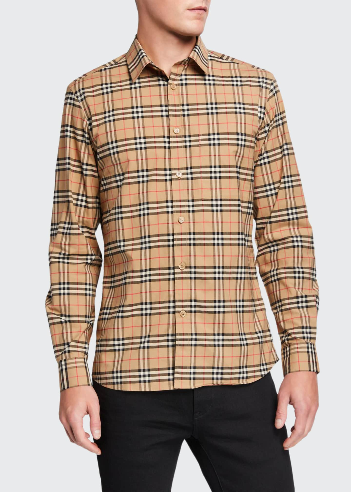 Image 1 of 2: Men's Simpson Check-Pattern Sport Shirt