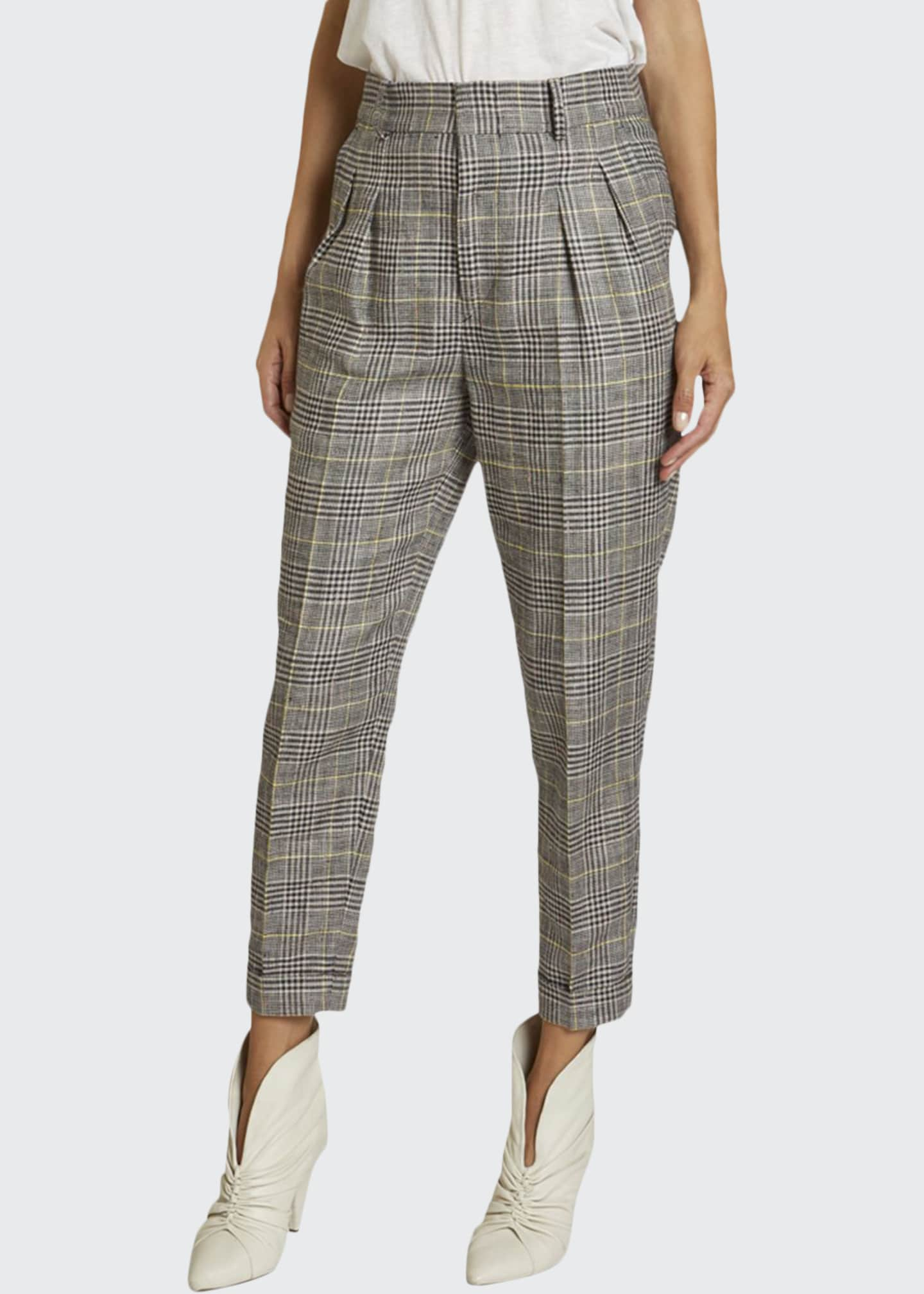 Image 1 of 2: Checked Linen-Silk Slim-Leg Crop Pants