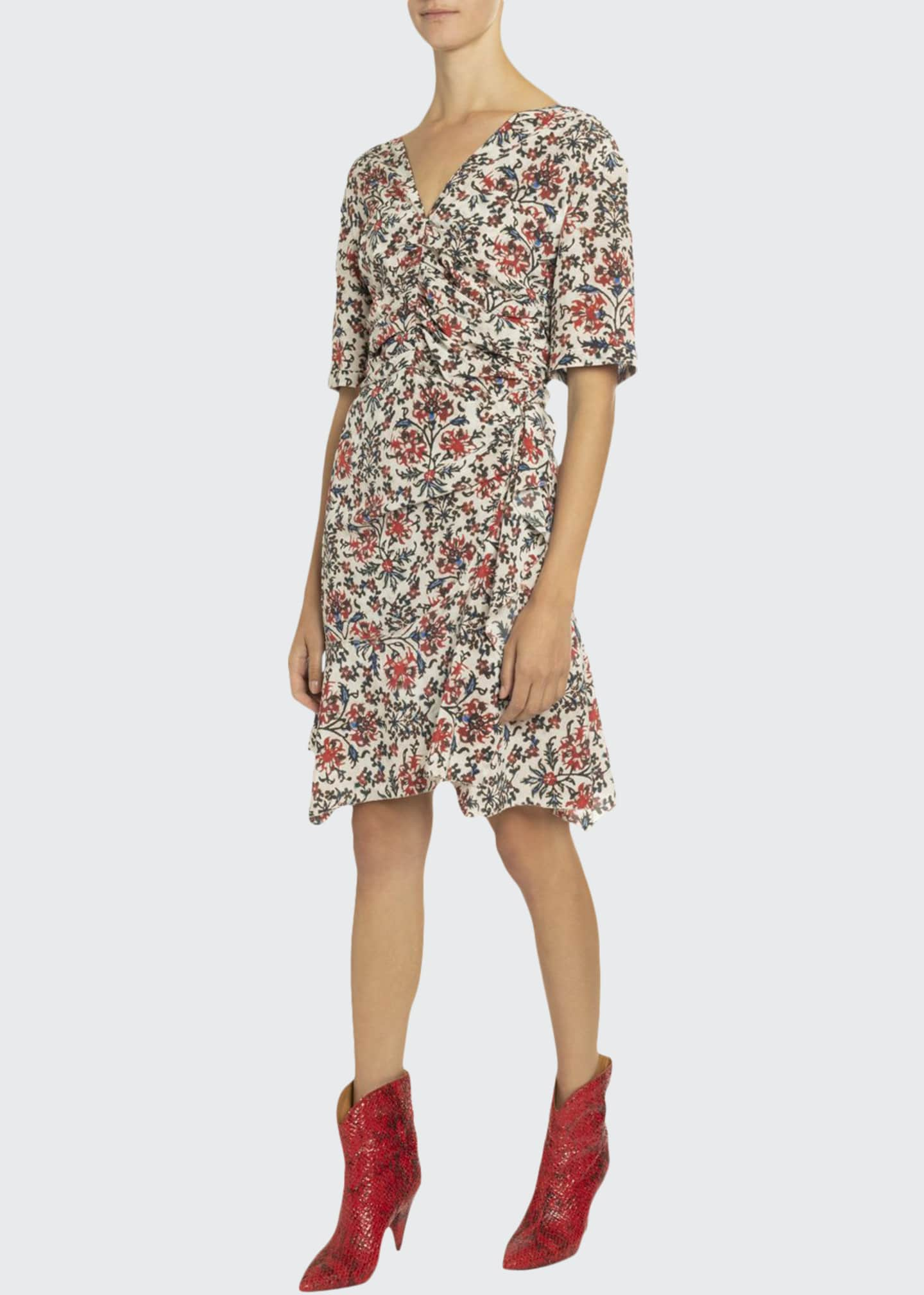 Image 1 of 2: Elbow-Sleeve Ruched Floral Print Dress