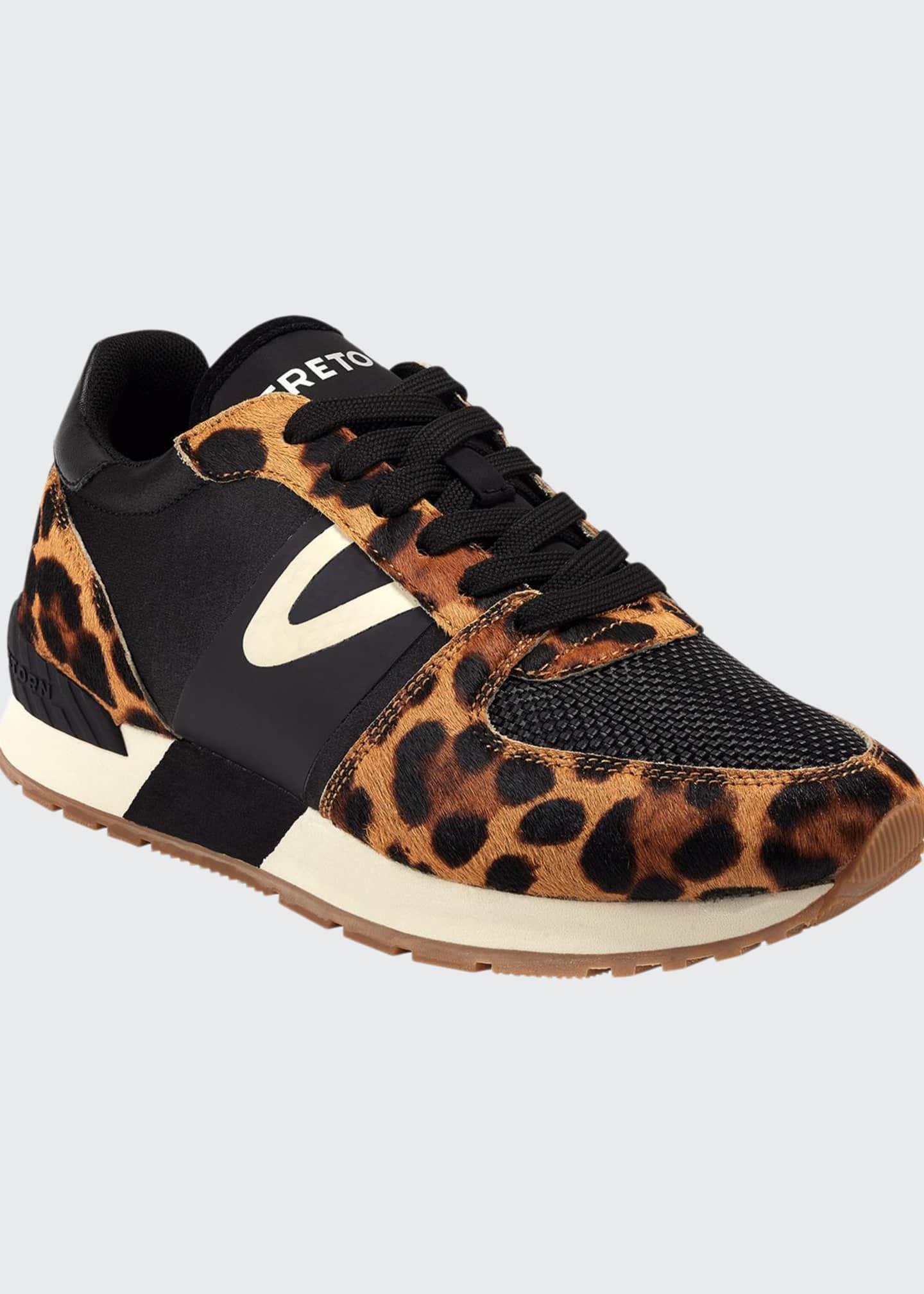 Tretorn Loyola 10 Leopard-Print Fur Trainer Sneakers