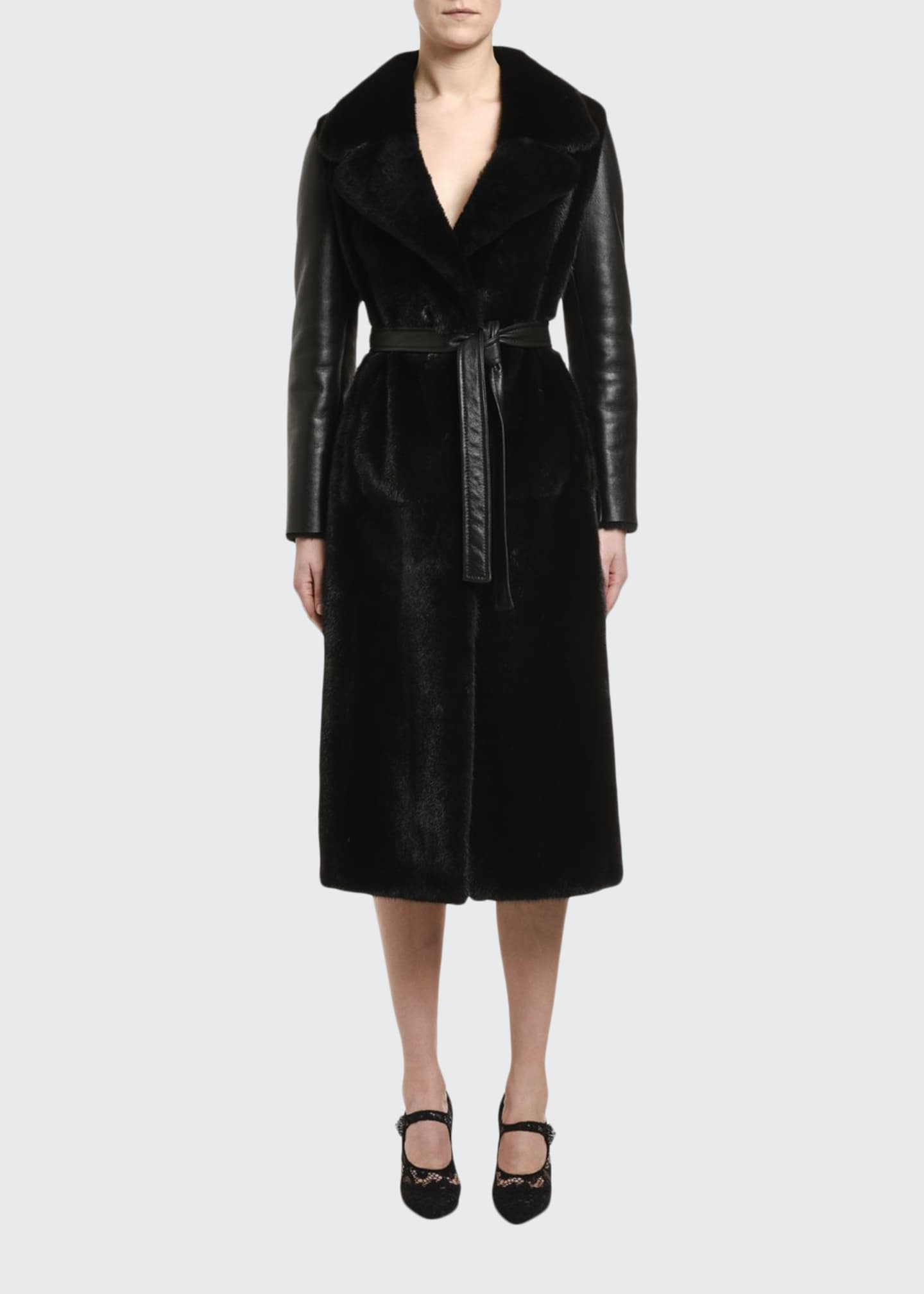 Blancha Mink-Front Belted Sheepskin Coat