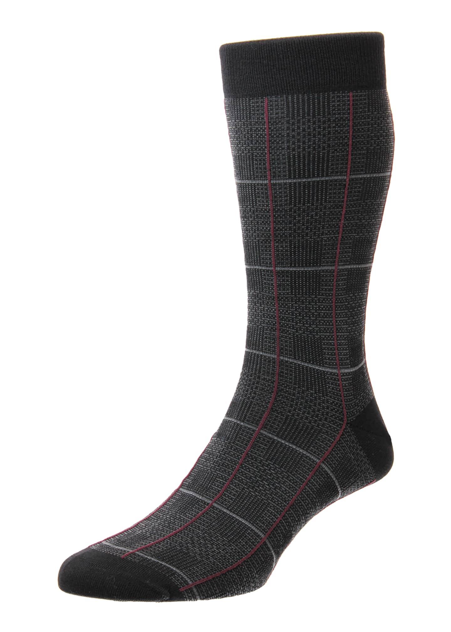 Pantherella Men's Chesham Merino Royale Windowpane Check Socks