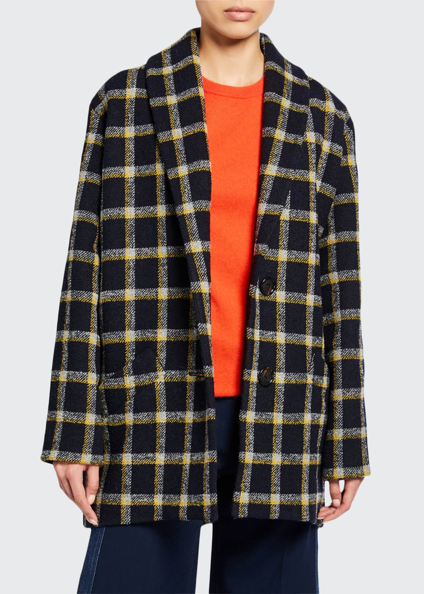 Image 1 of 3: Shawl-Collar Check Cocoon Coat