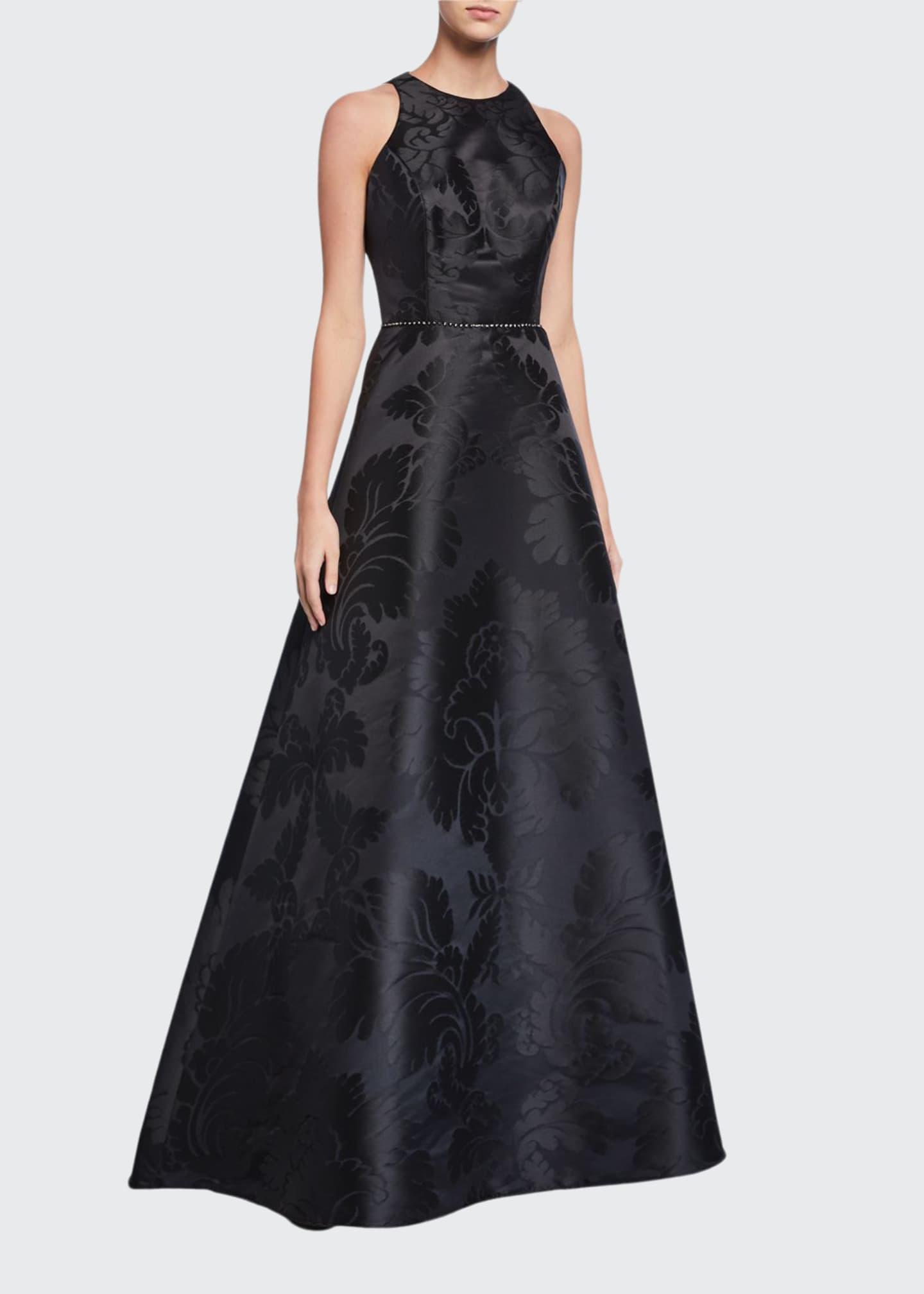 Roland Nivelais Silk Jacquard A-Line Gown