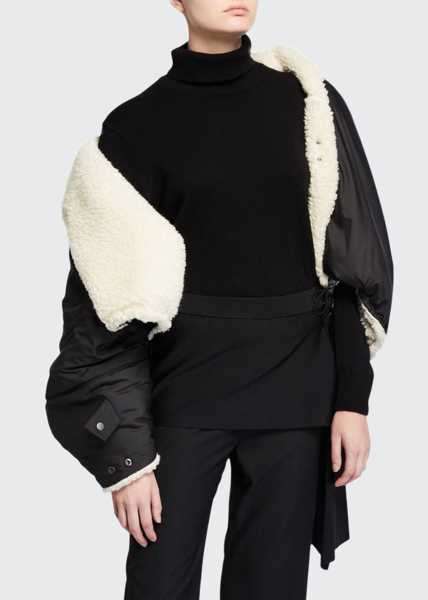 3.1 Phillip Lim Reversible Wool Sherpa Cape