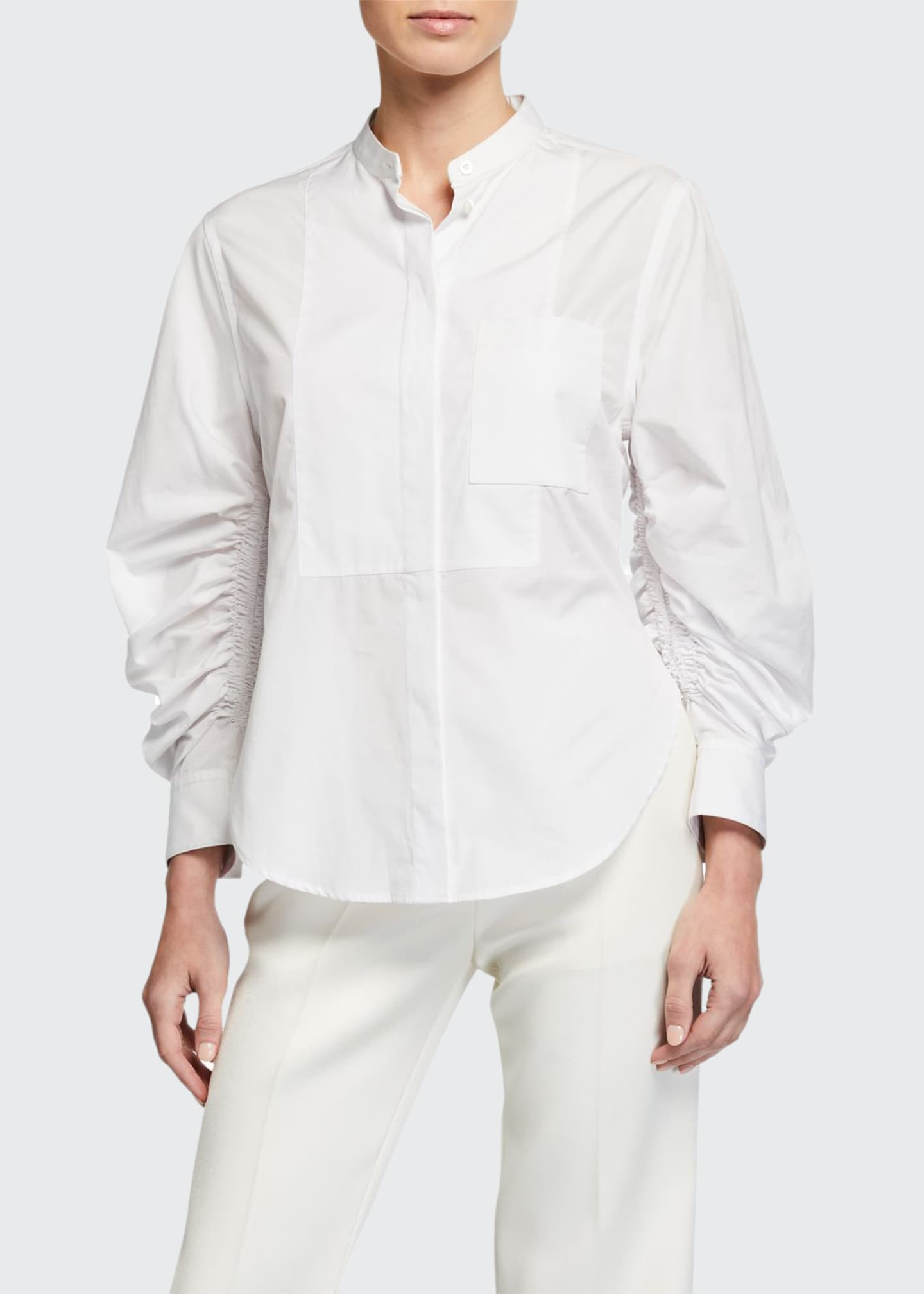 3.1 Phillip Lim Gathered-Sleeve Poplin Button-Down Top
