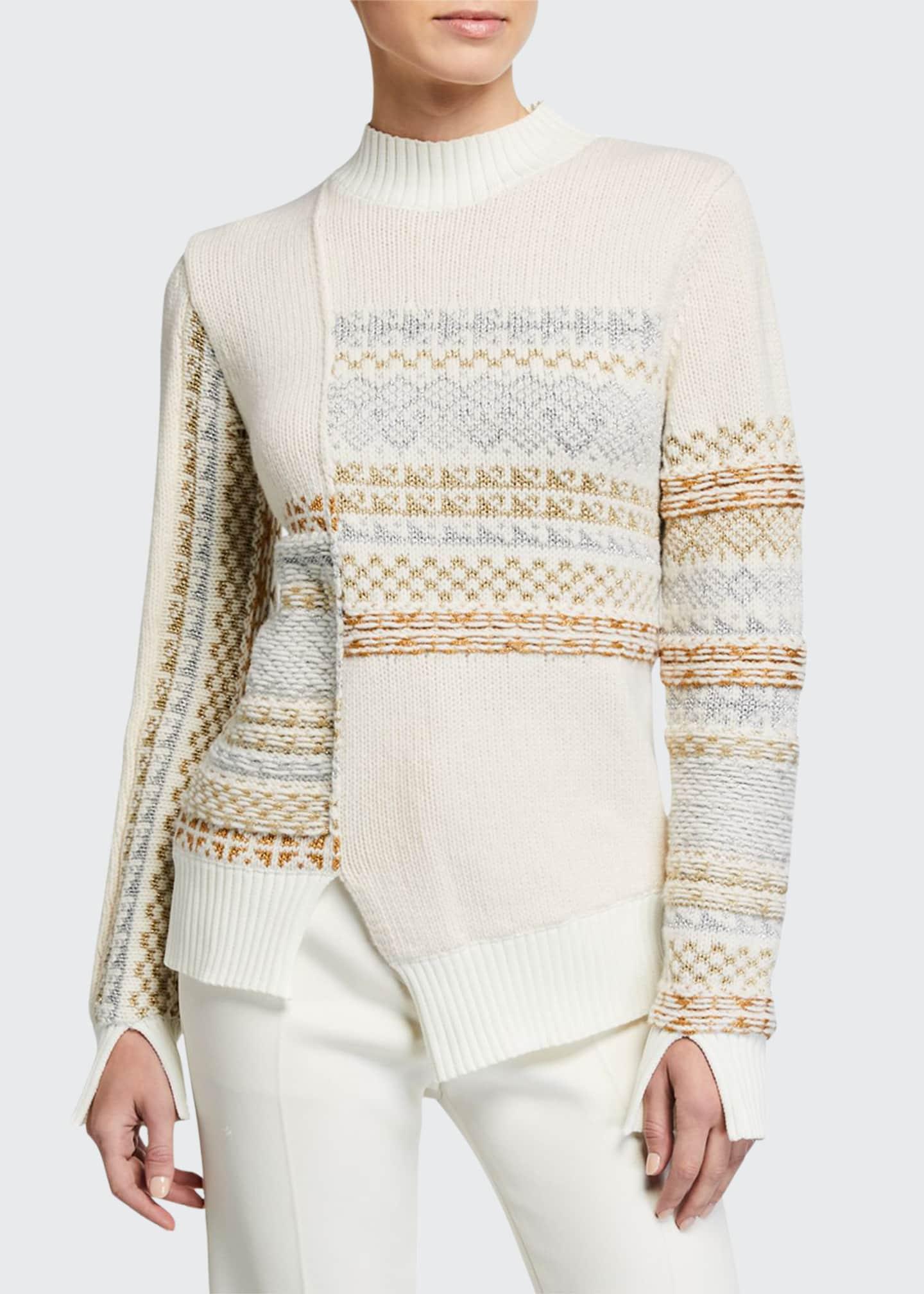 3.1 Phillip Lim Fair Isle Patchwork Pullover Sweater