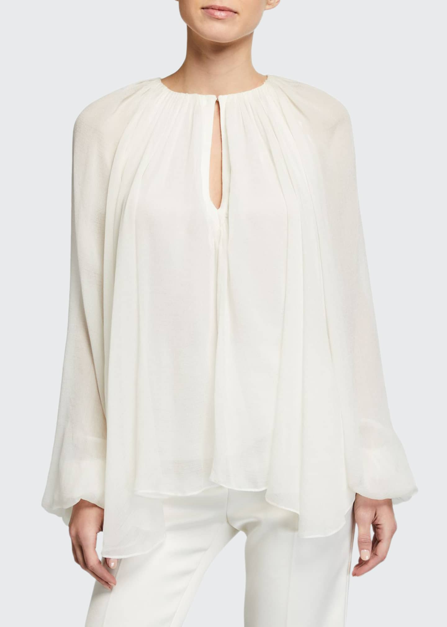 3.1 Phillip Lim Long-Sleeve Silk Keyhole Blouse