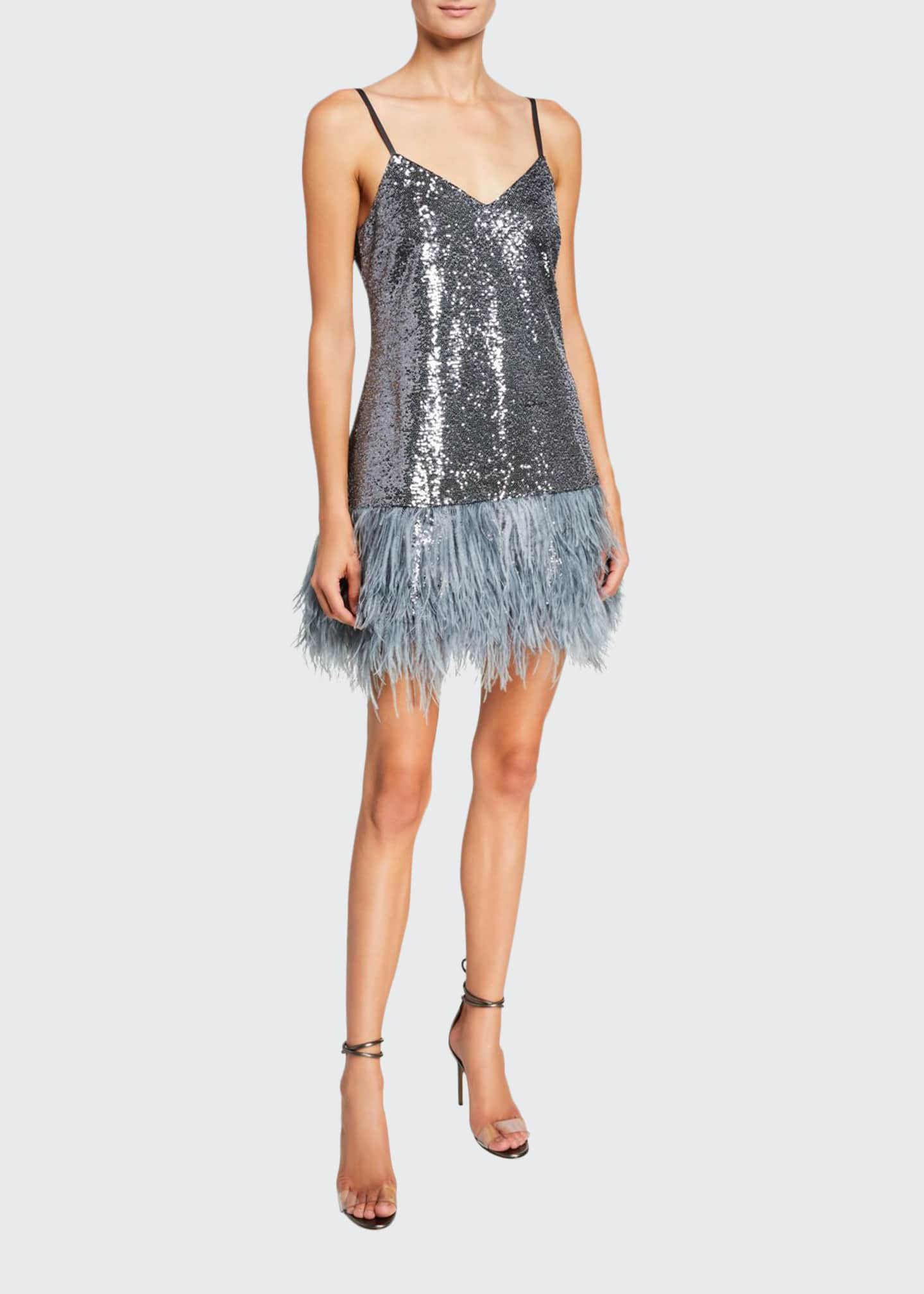 cinq a sept Athena Sequined Cocktail Dress w/