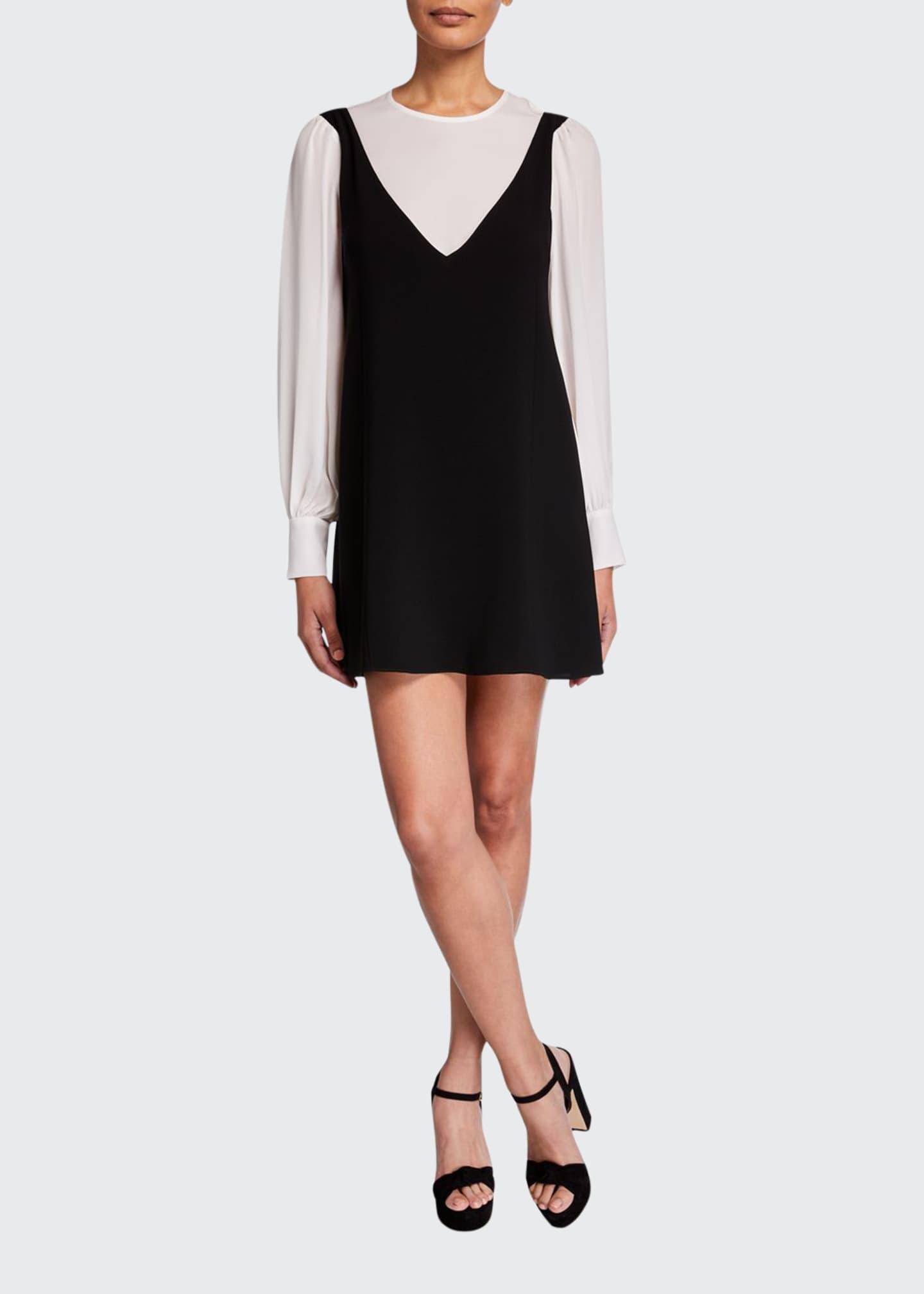 cinq a sept Mercer Layered Long-Sleeve Short Dress