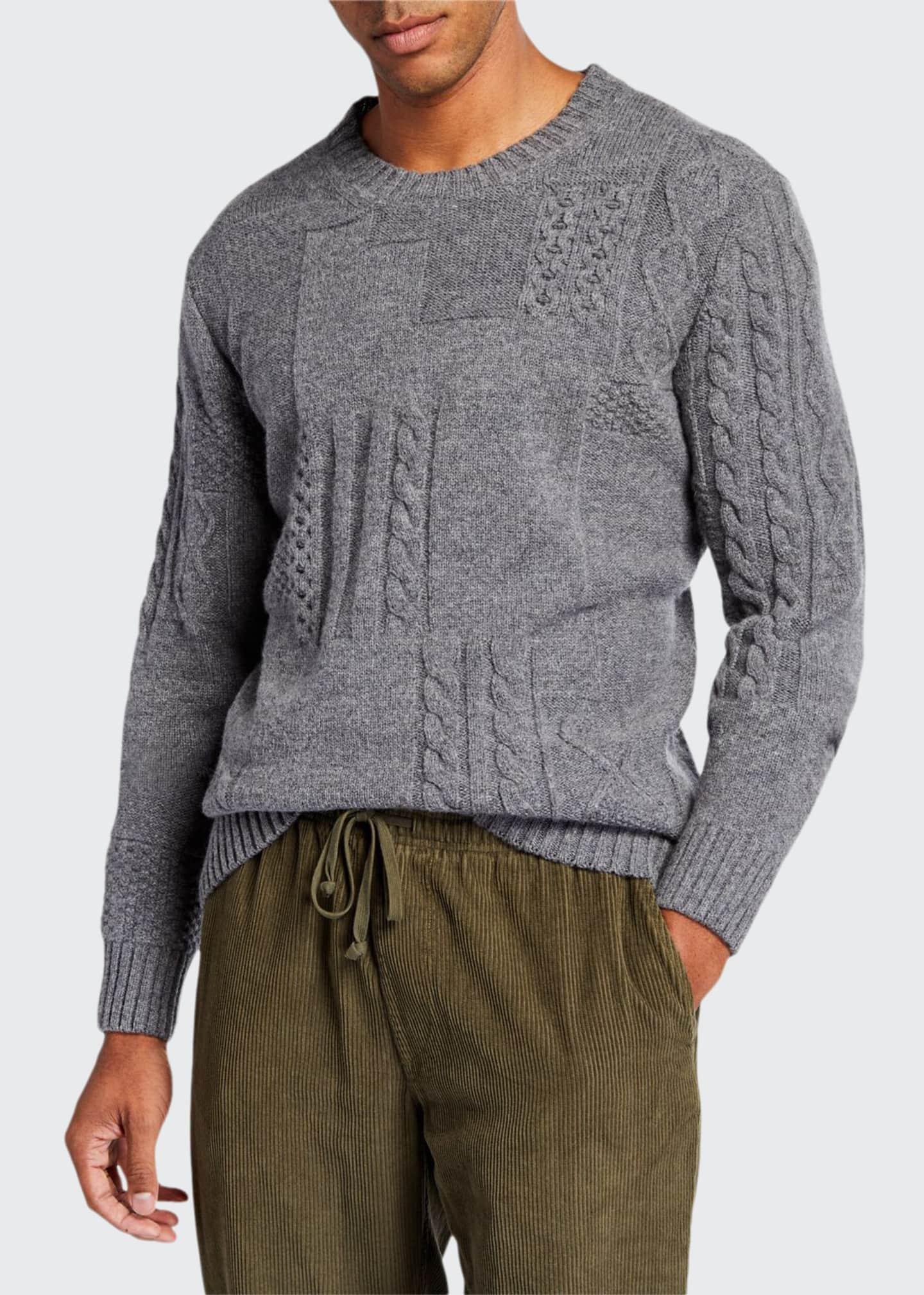Country of Origin, Ltd. Men's Patchwork Cable-Knit Crewneck