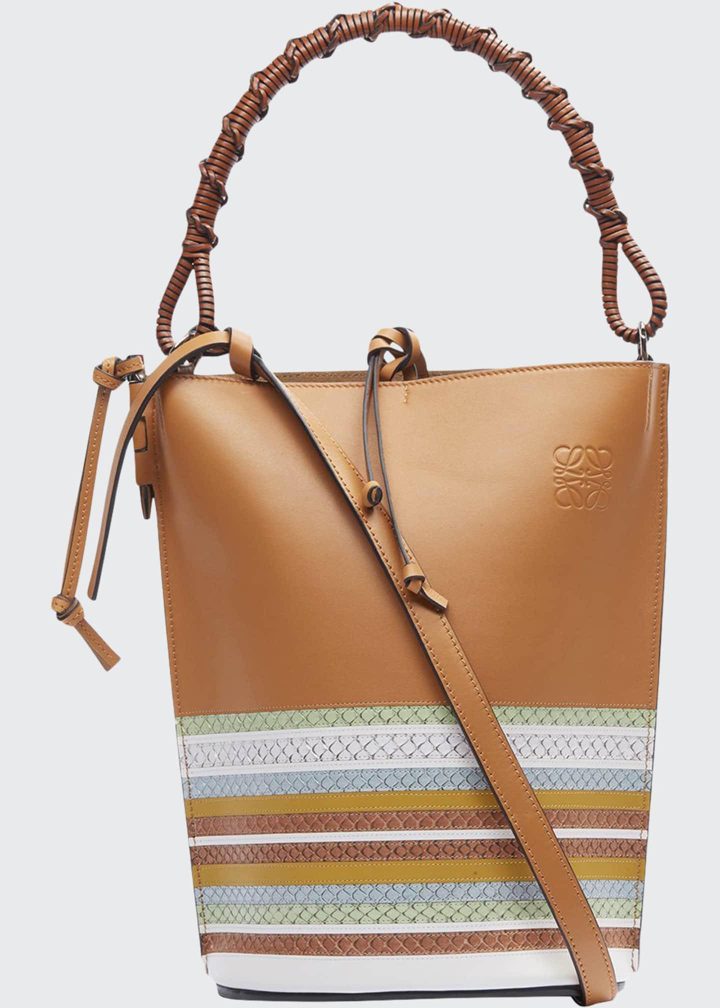 Loewe Gate Marine Snake-Trim Bucket Bag