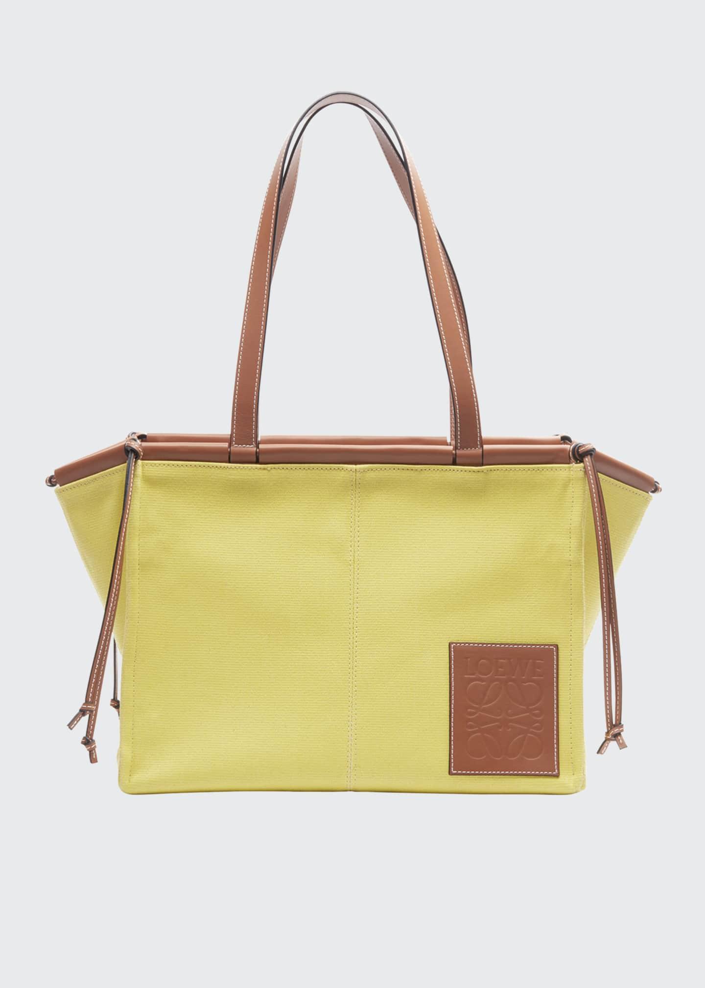 Loewe Cushion Two-Tone Leather Tote Bag