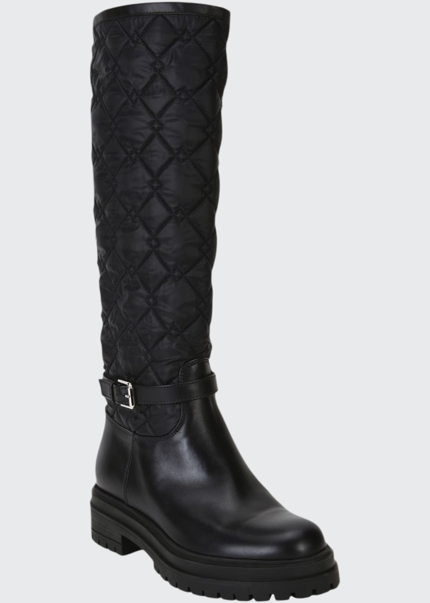 Gianvito Rossi Leather & Quilted Nylon Riding Boots