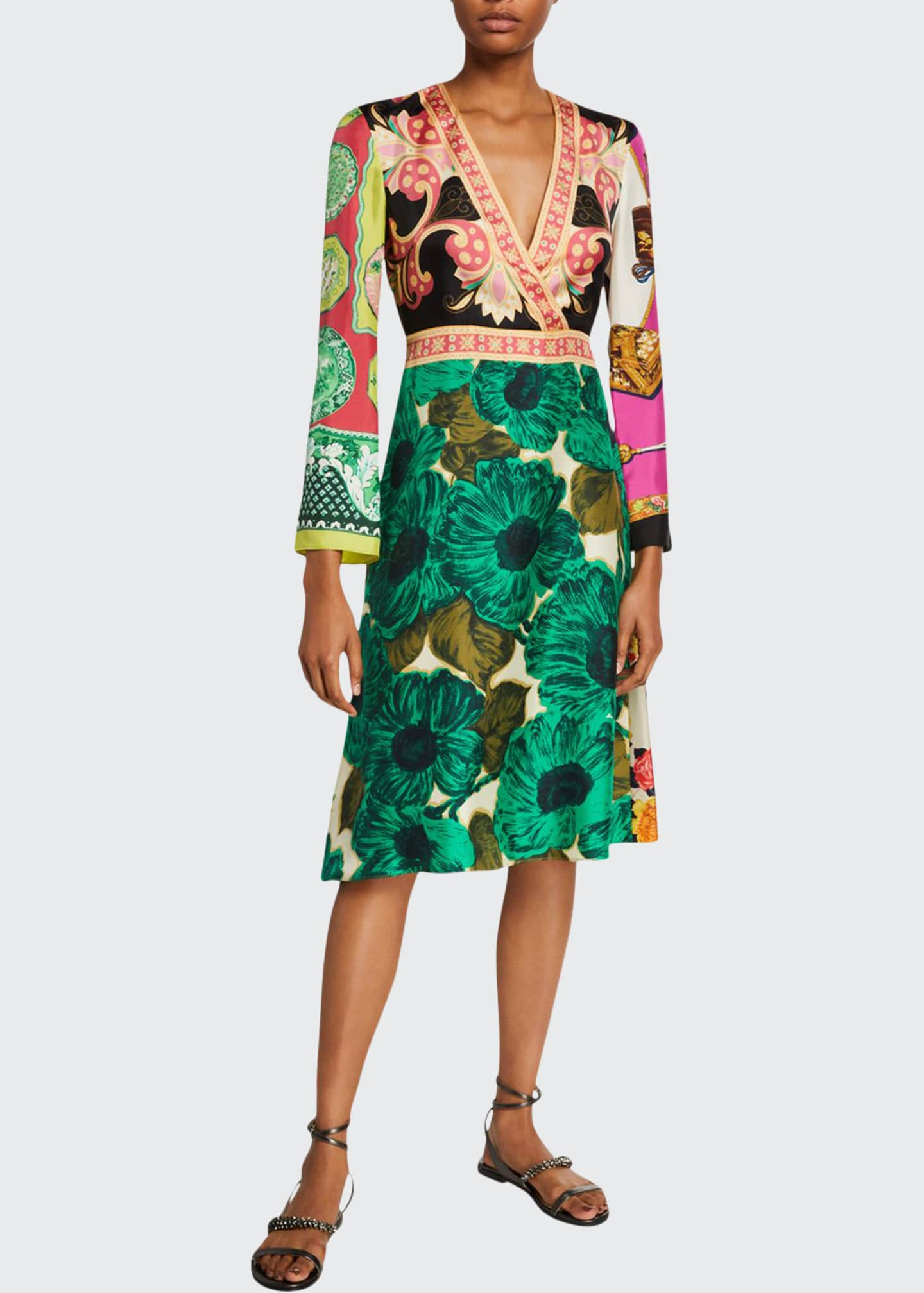 Image 1 of 2: Floral-Patchwork-Print Silk Dress