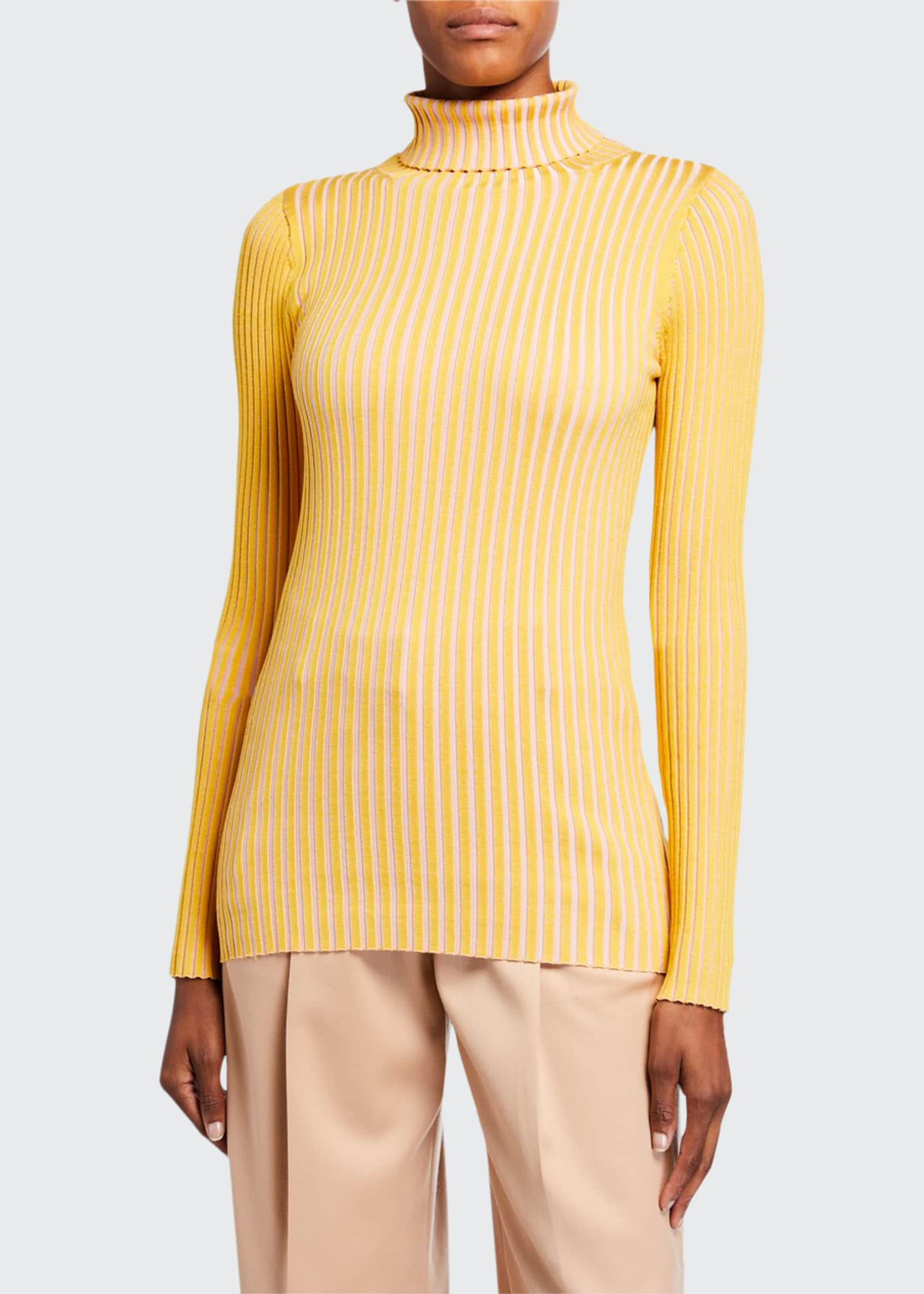 Image 1 of 2: Silk Striped Turtleneck Sweater