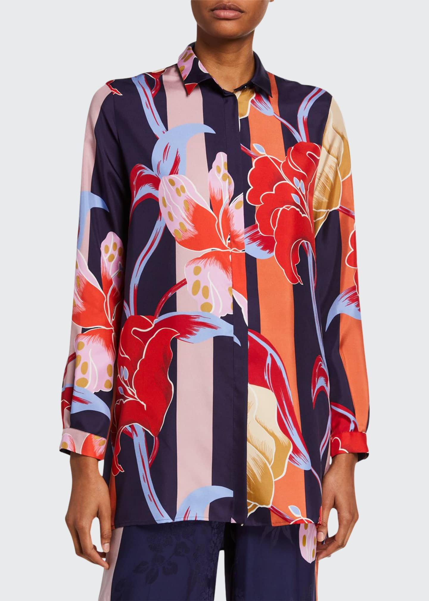 Image 1 of 2: Lily-Print Silk Tunic