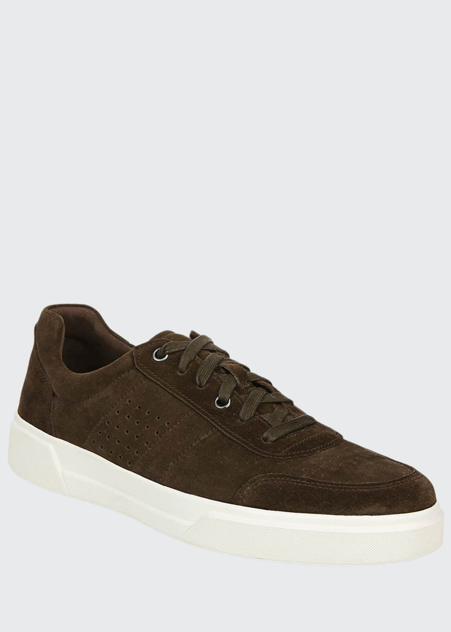 Image 1 of 4: Men's Barnett Perforated Suede Low-Top Sneakers