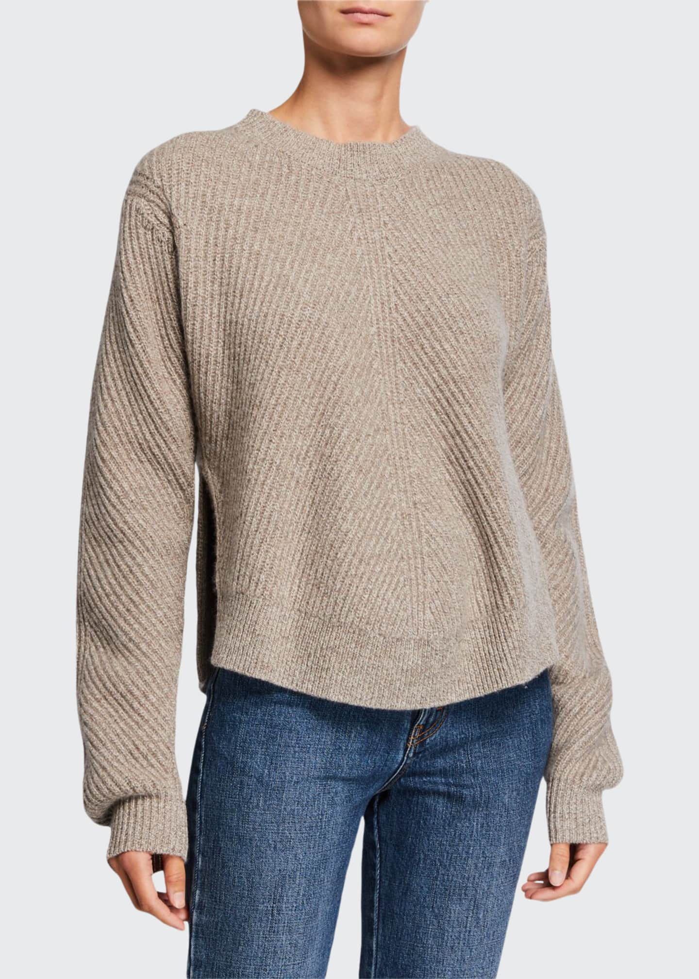 Image 1 of 2: Cashmere Chevron Ribbed Sweater