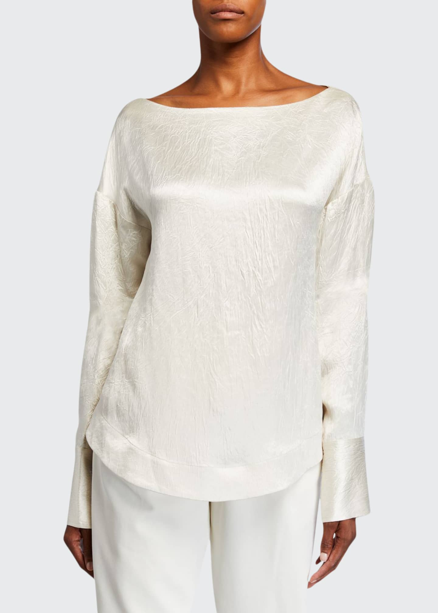 Image 1 of 2: Hammered-Satin Long-Sleeve Blouse