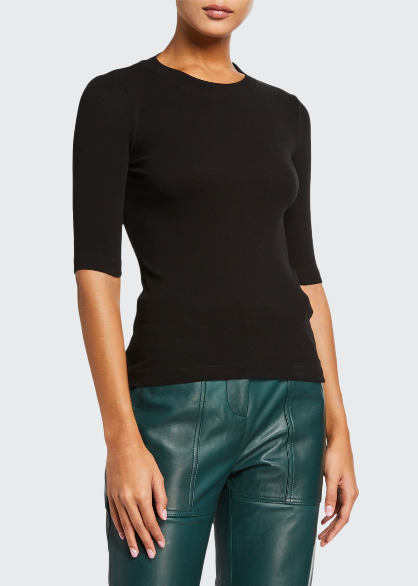 Image 1 of 2: Cotton Cropped-Sleeve T-Shirt