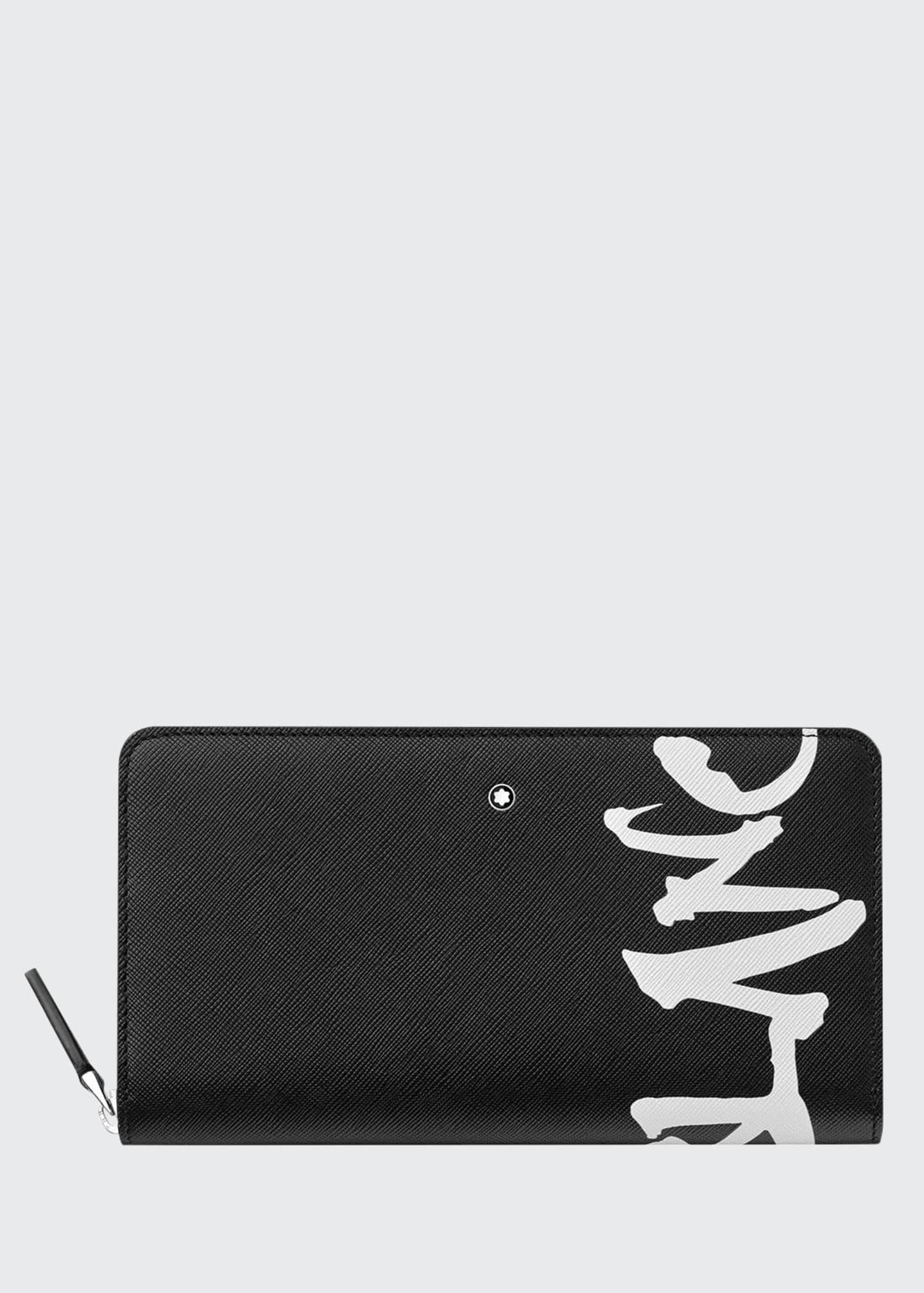 Image 1 of 1: Men's Saffiano Leather Graffiti Logo Wallet