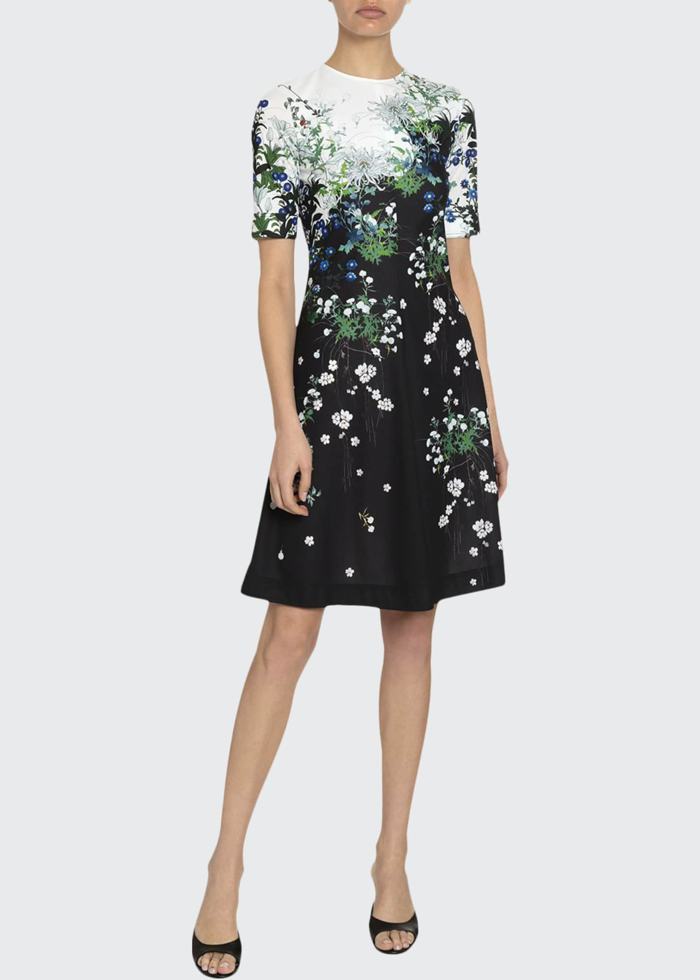 Givenchy Floral Crewneck Knee-Length Dress