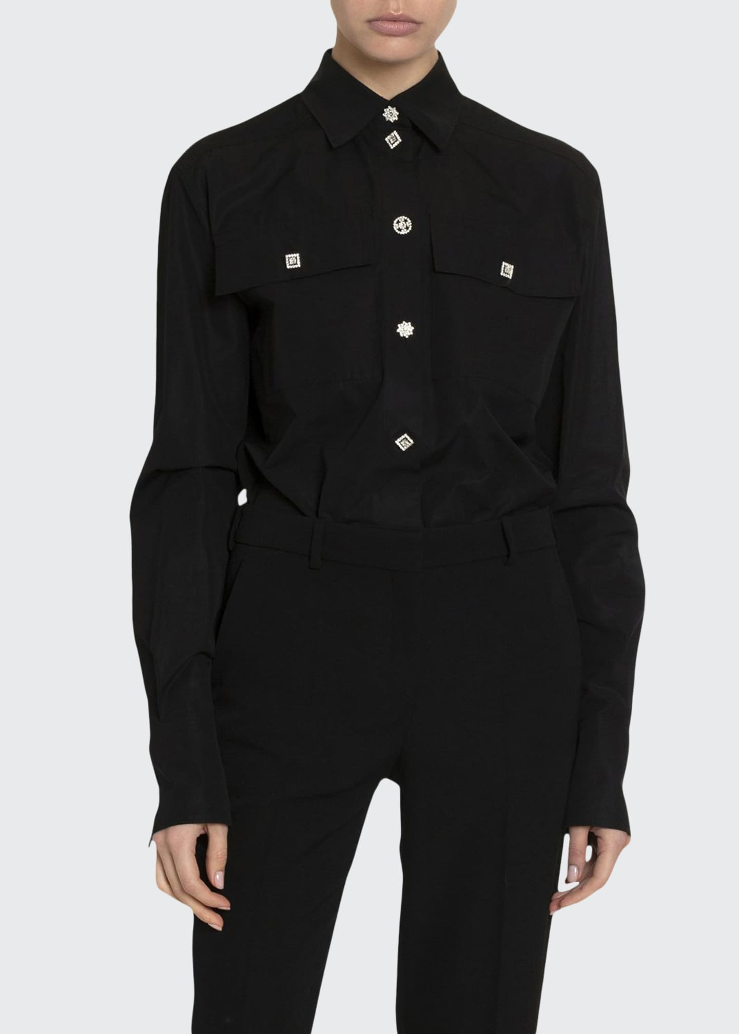 Image 1 of 2: Silk Jewel-Button Two-Pocket Blouse
