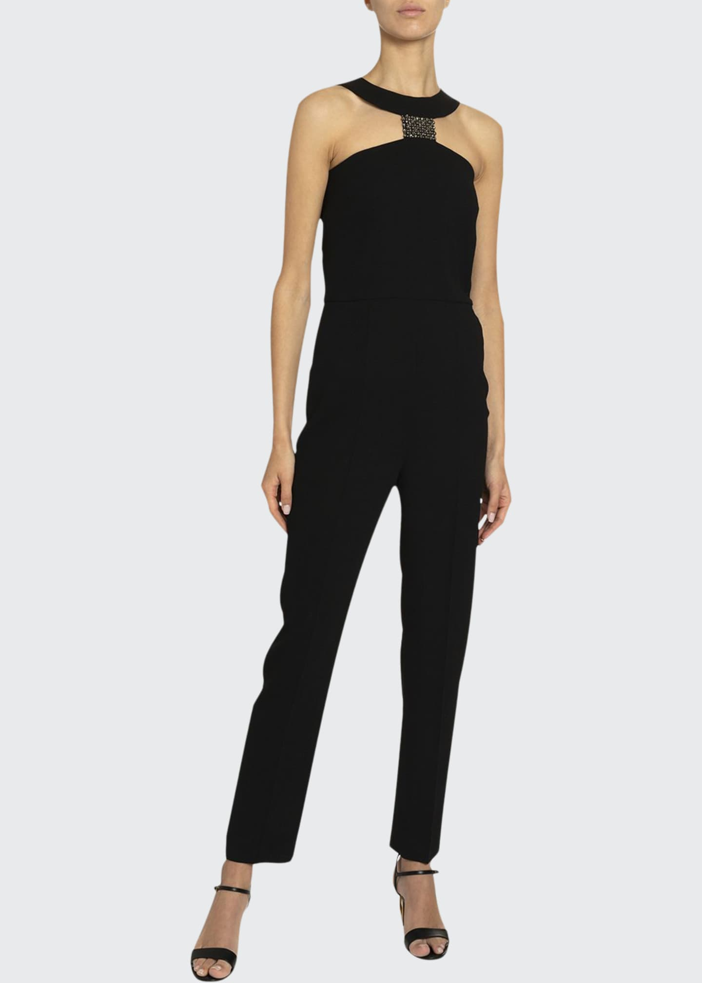 Image 1 of 2: Crystal T-Neck Straight-Leg Jumpsuit